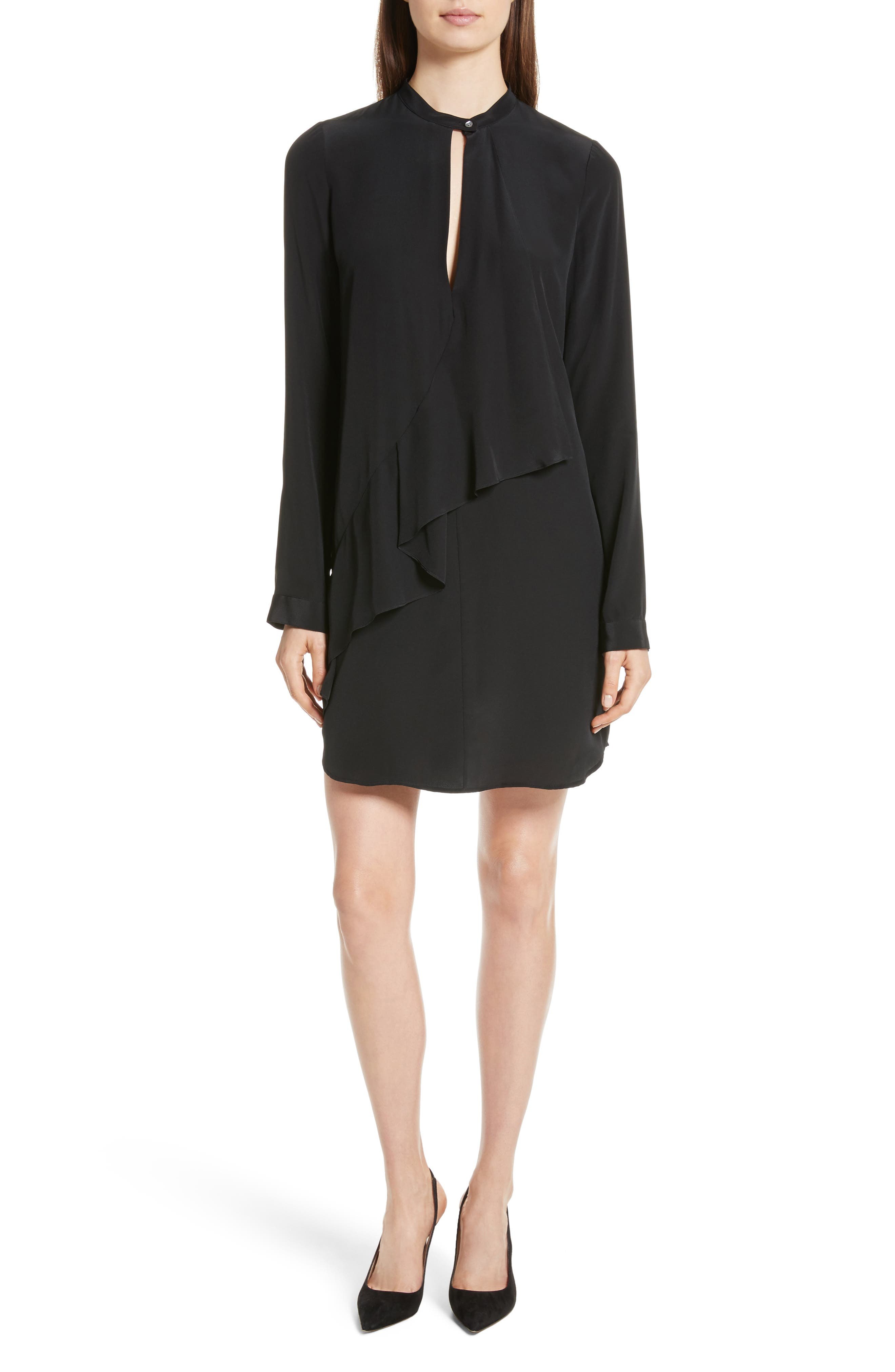 Drape Silk Dress,                         Main,                         color, Black