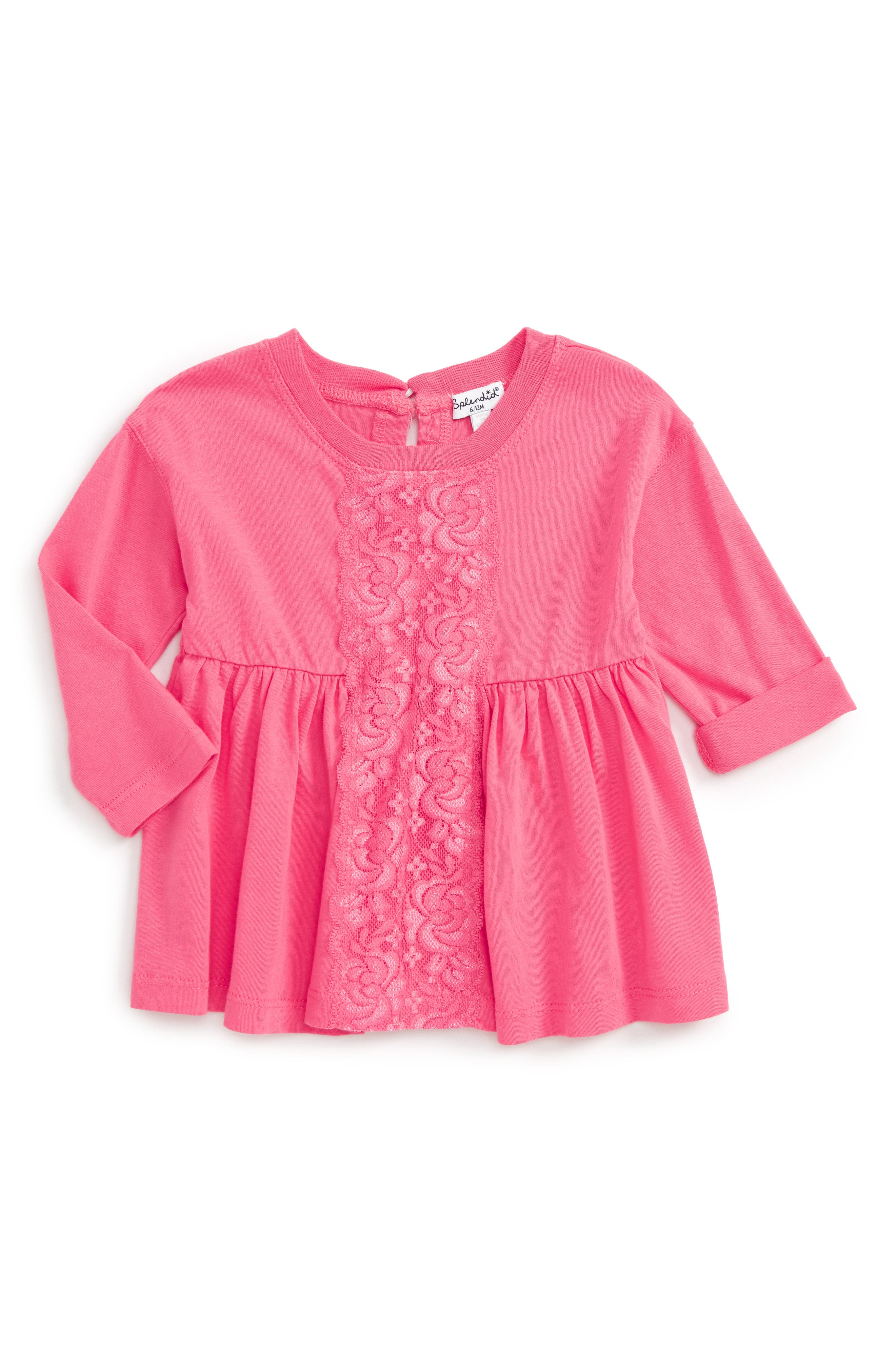 Lace Panel Top,                         Main,                         color, Pink