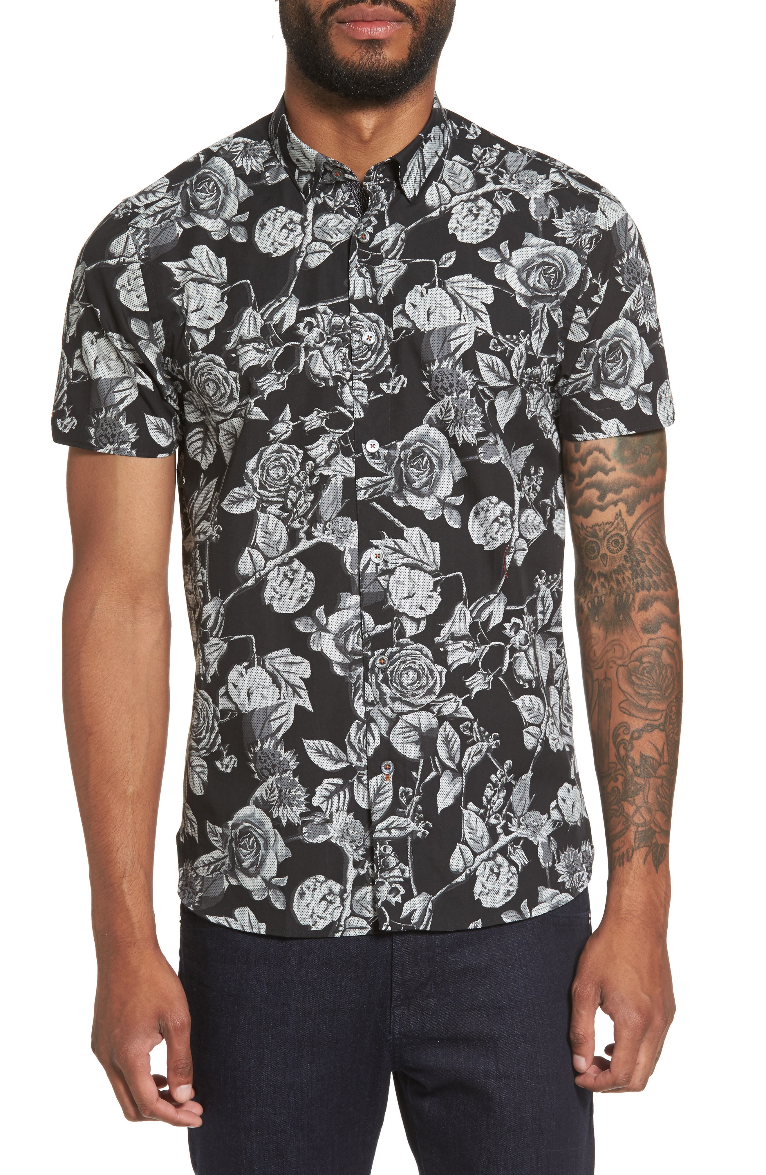 Taxee Floral Print Woven Shirt,                         Main,                         color, Black