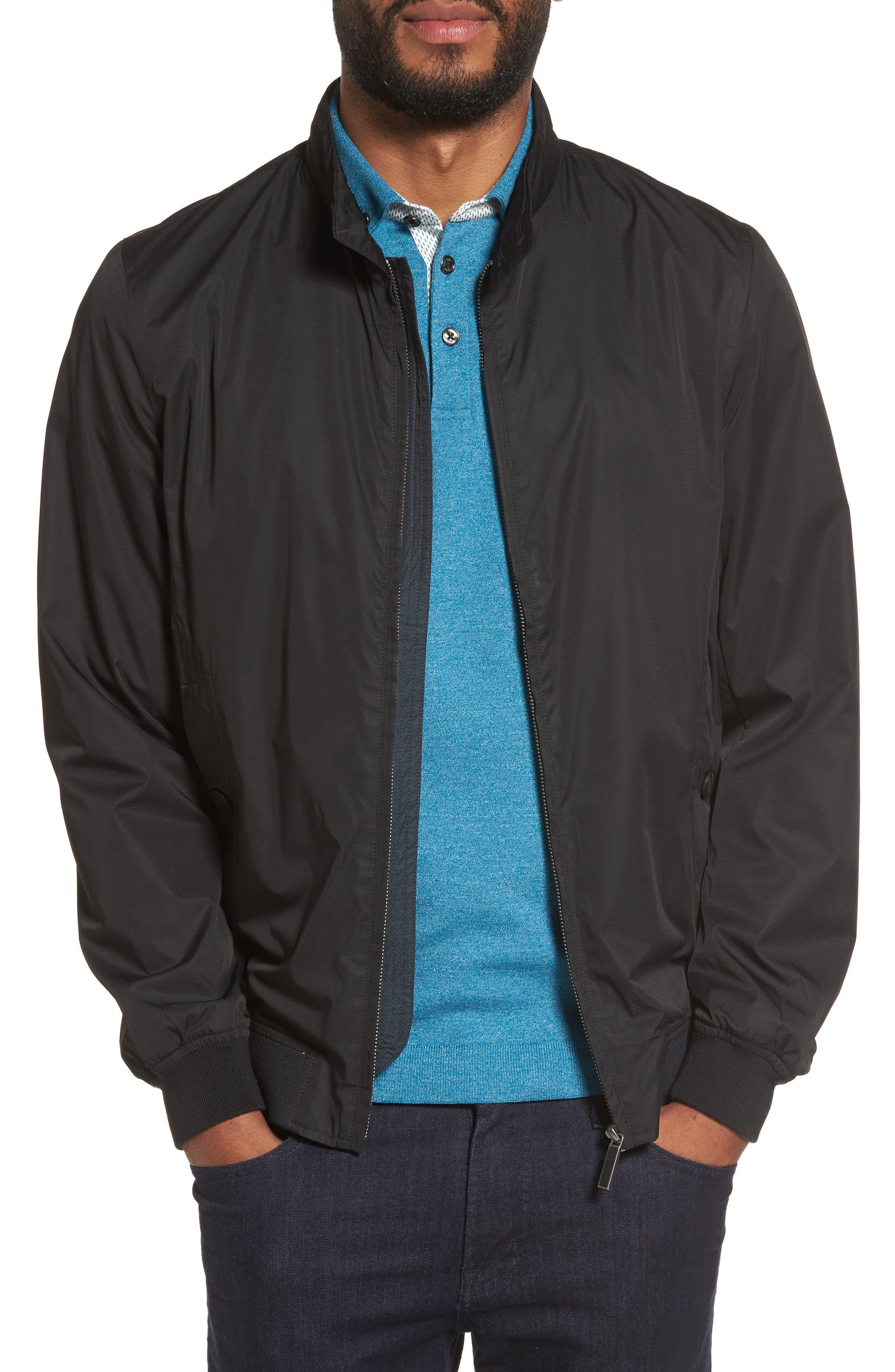 Nylon Bomber Jacket,                         Main,                         color, Black