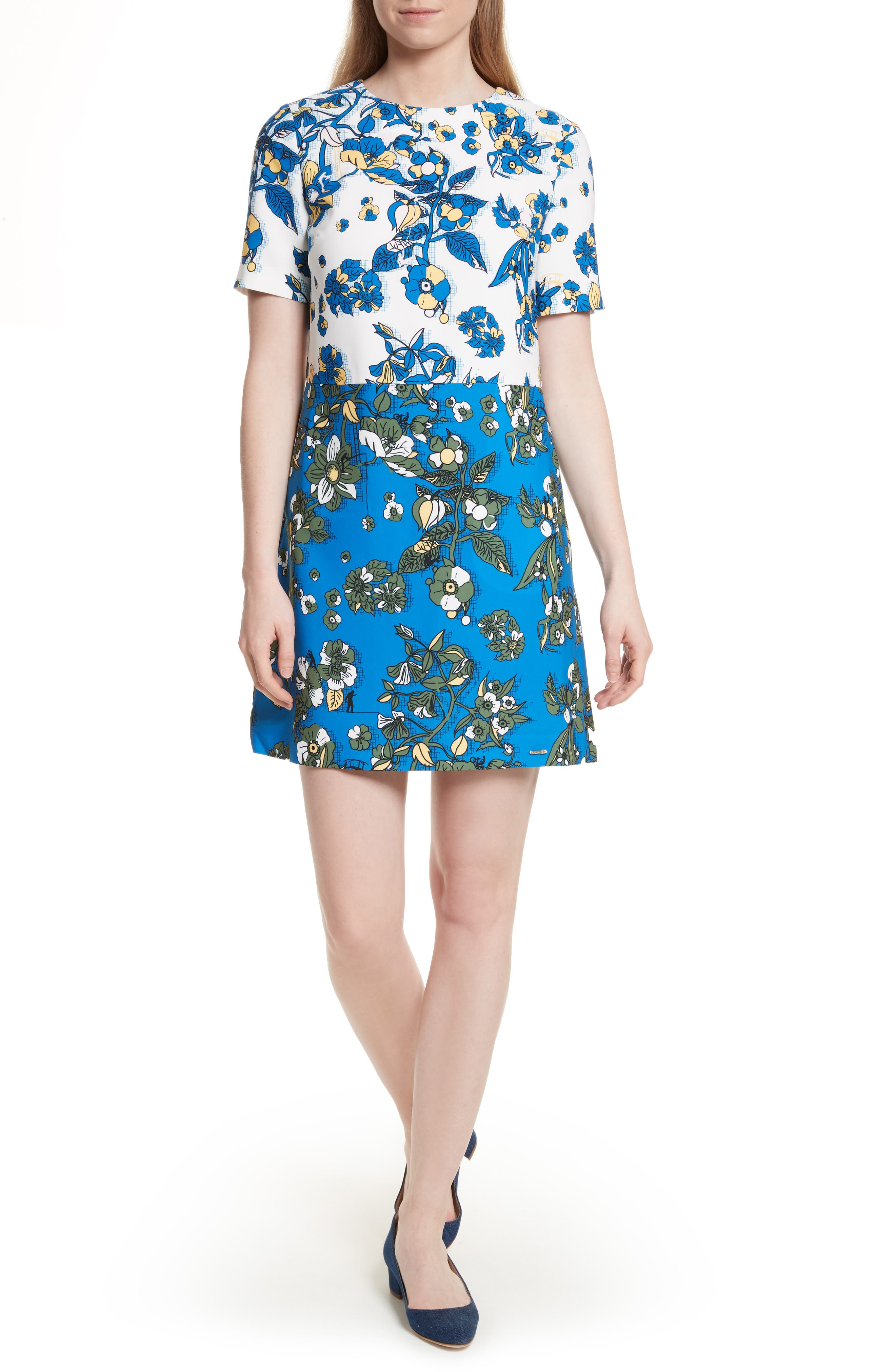 Main Image - Ted Baker London Colorblock Floral Shift Dress