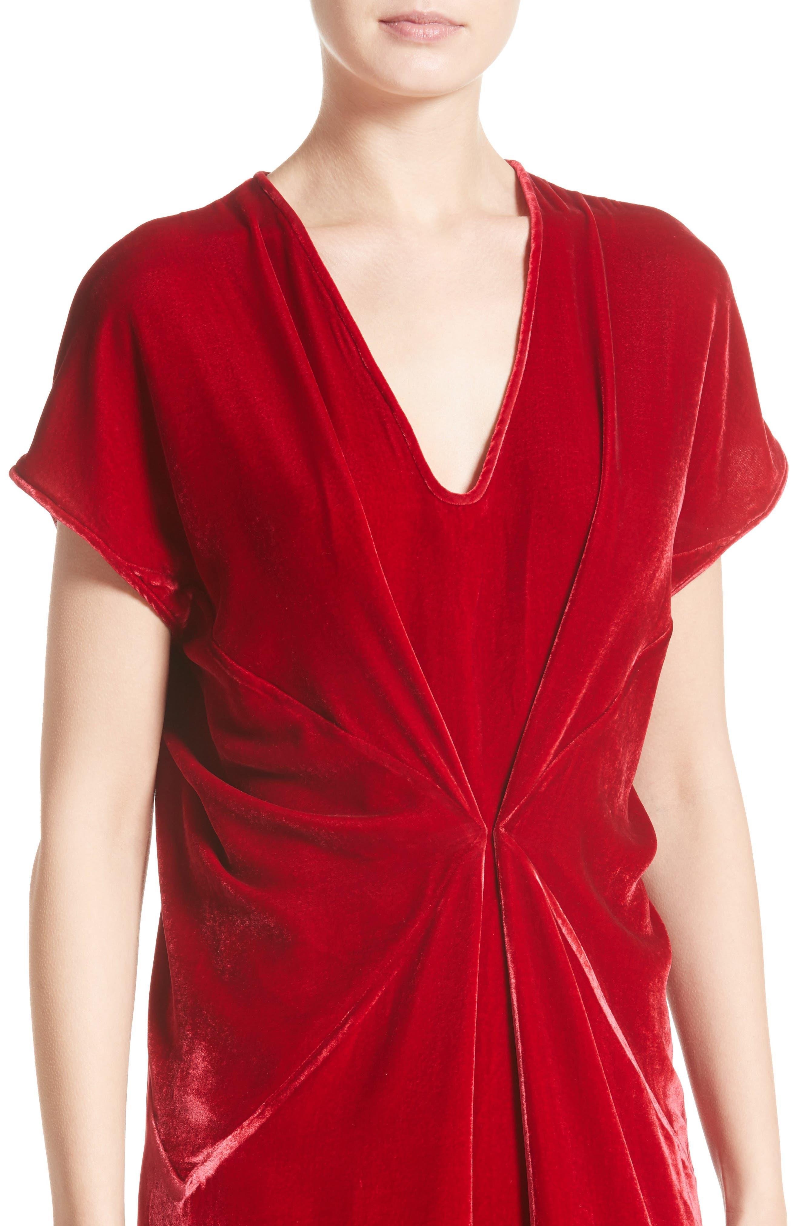 Sana Velvet Dress,                             Alternate thumbnail 4, color,                             Crimson