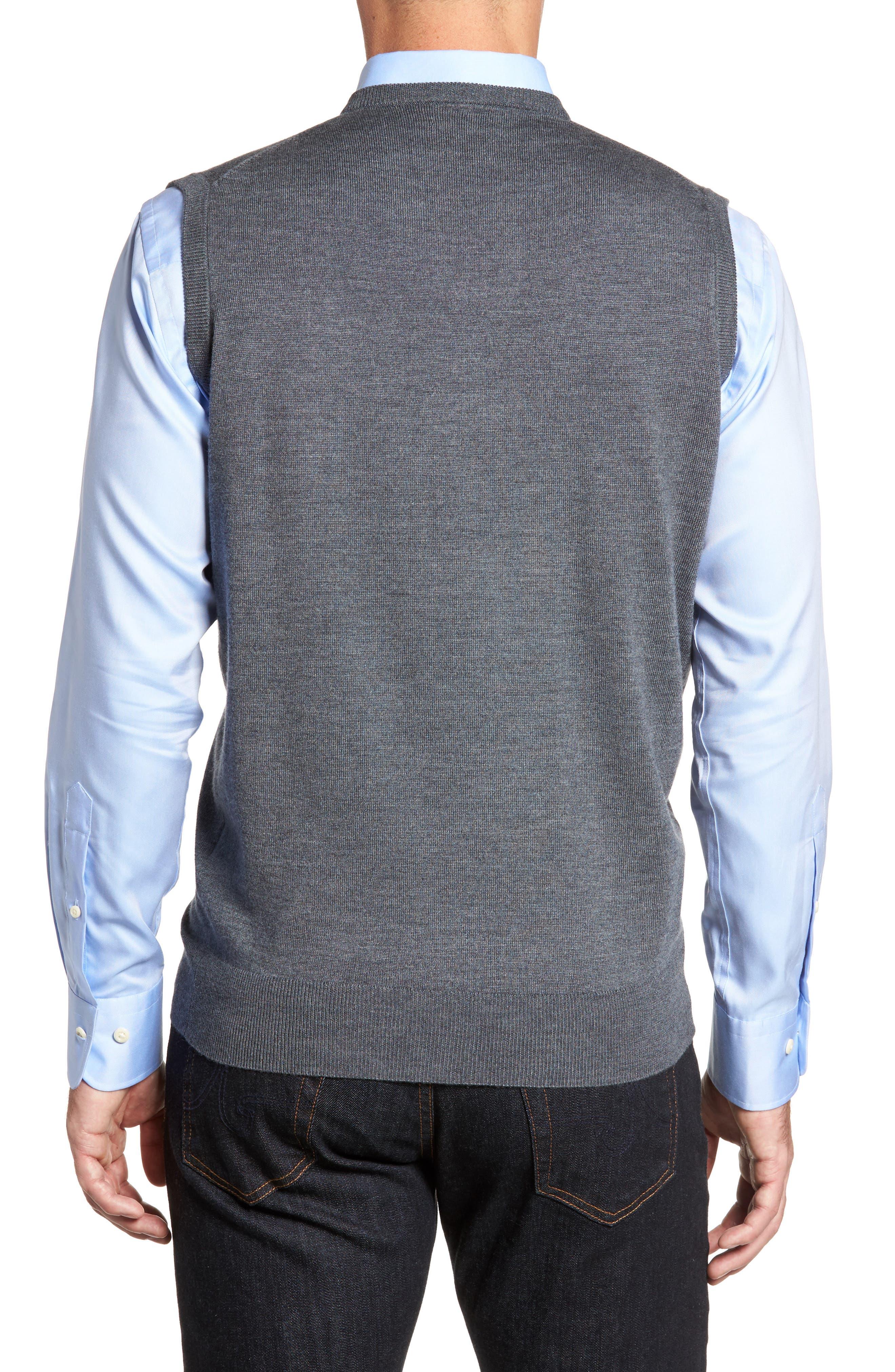 Crown Merino Blend Knit Vest,                             Alternate thumbnail 2, color,                             Charcoal