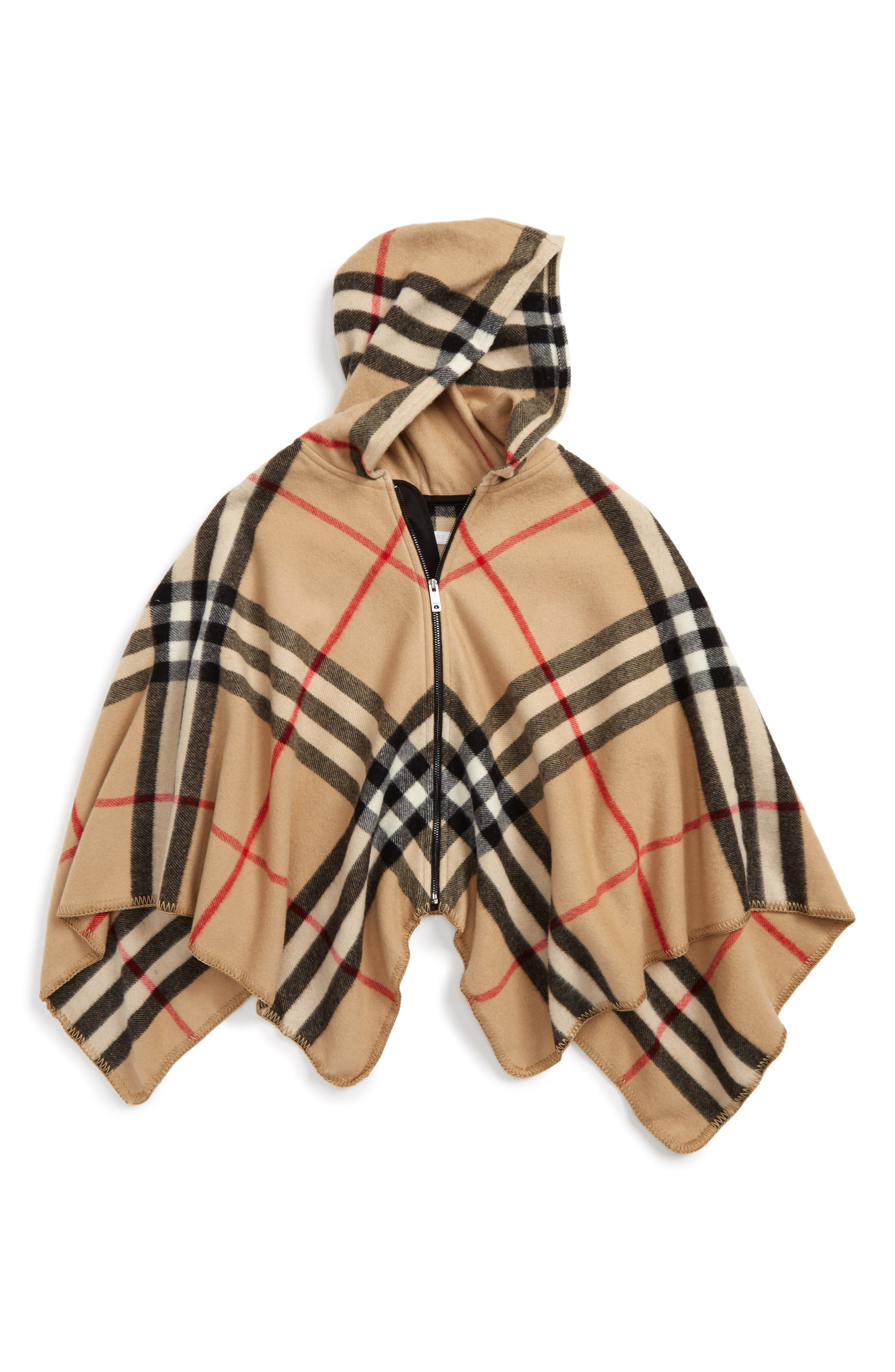 Main Image - Burberry Vickie Check Wool & Cashmere Hooded Cape (Little Girls & Big Girls)