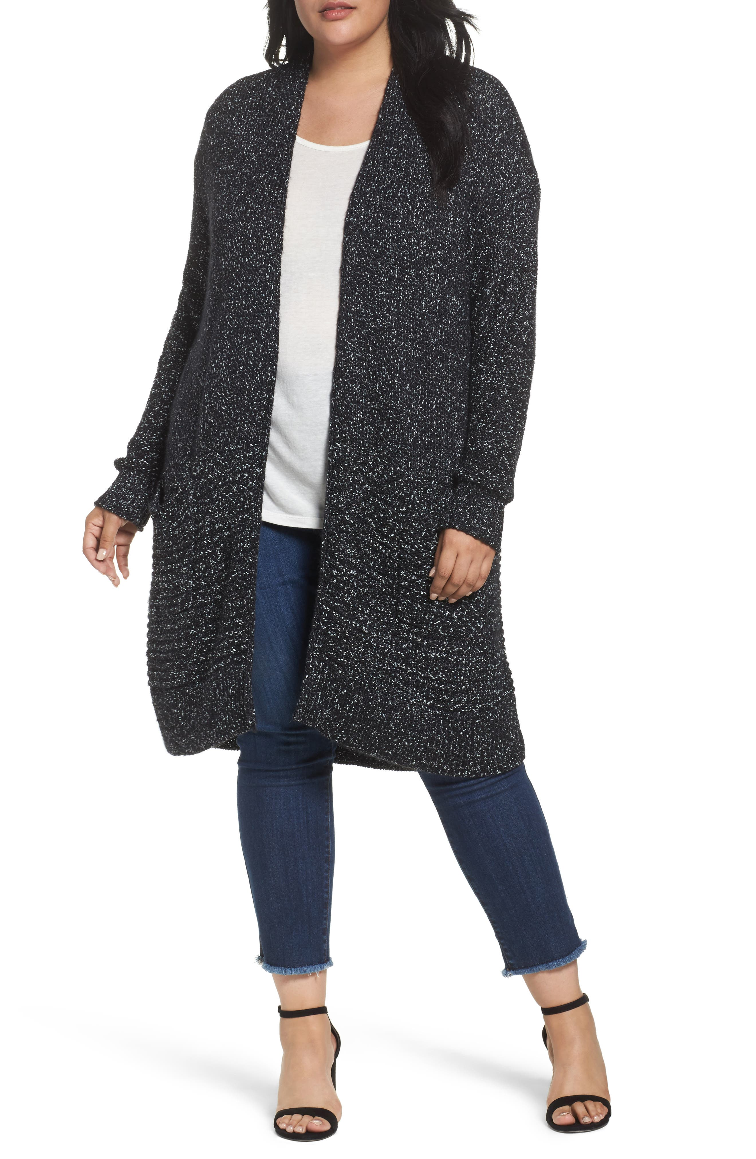 Caslon® Mixed Stitch Cardigan (Plus Size)