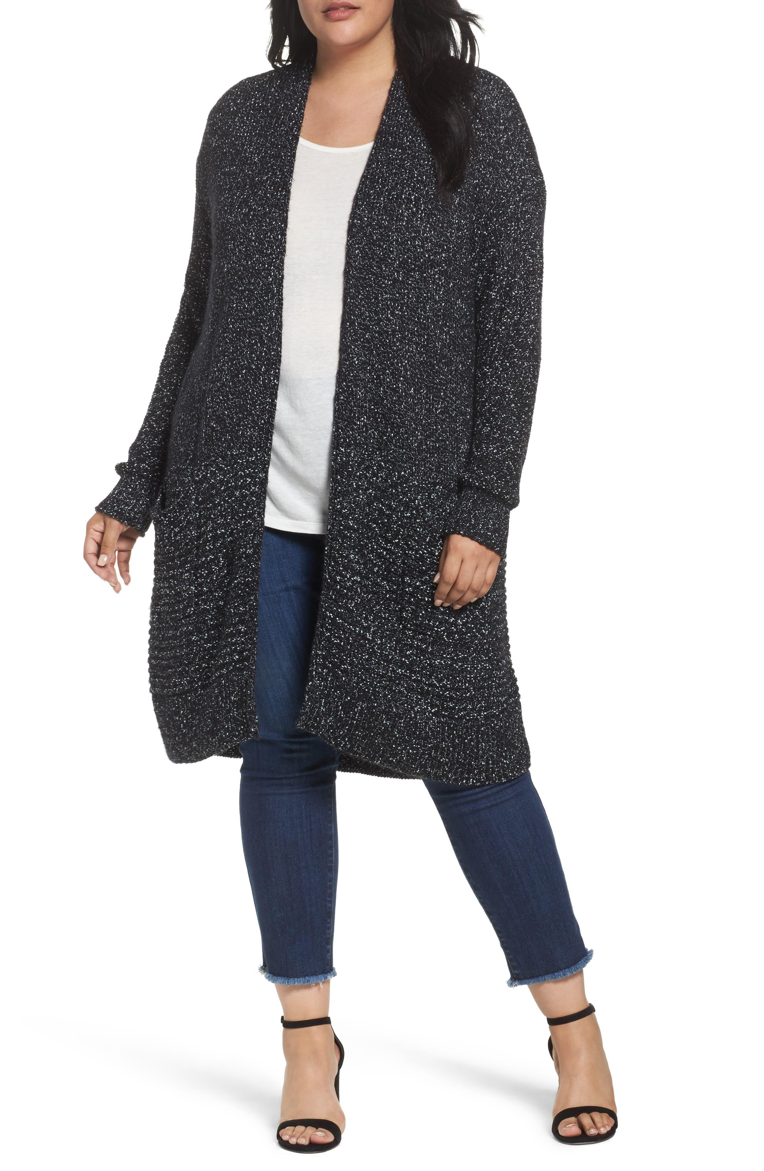Caslon® Mixed Stitch Cardigan (Plus Size)
