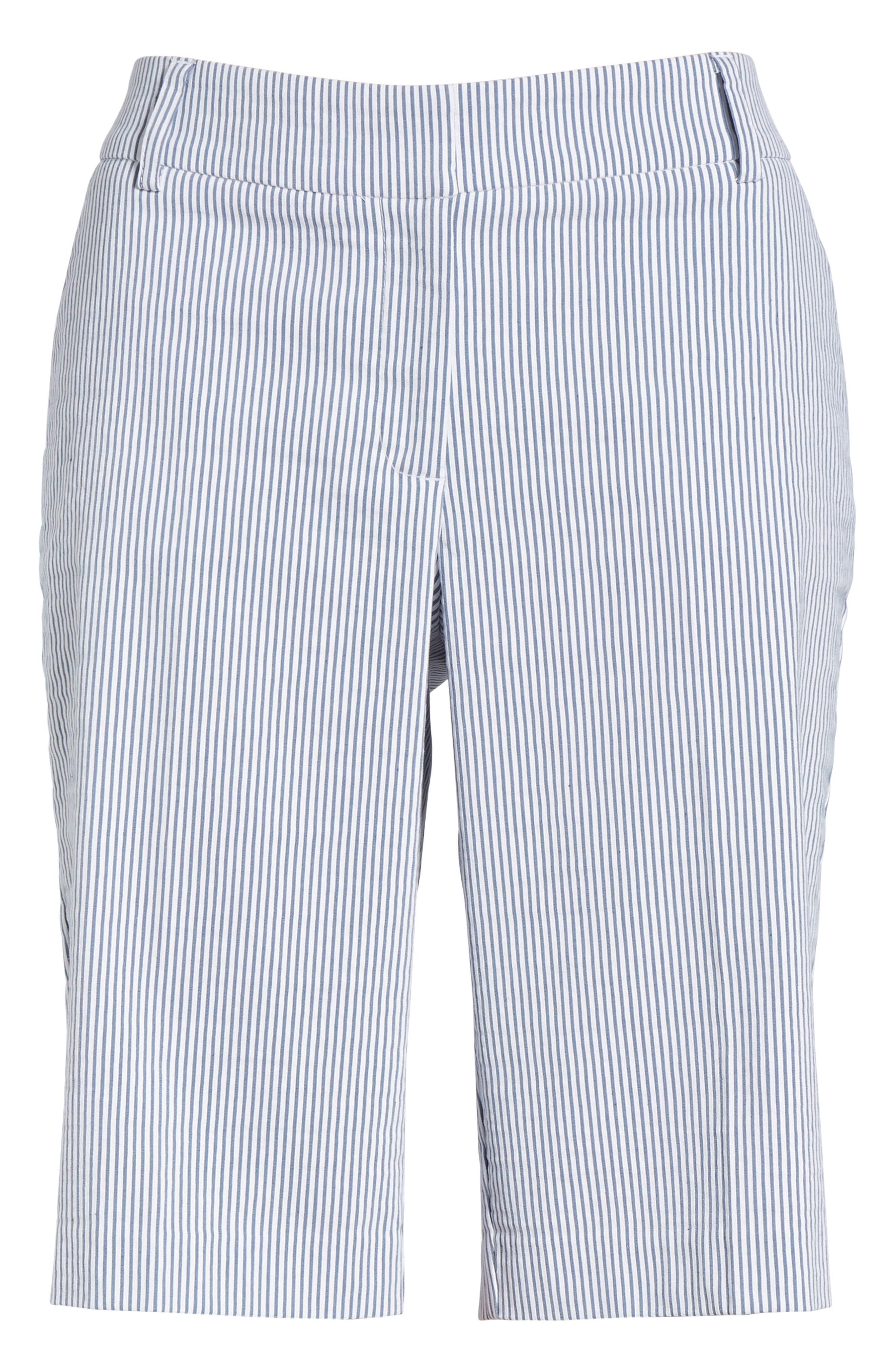 Stretch Bermuda Shorts,                             Alternate thumbnail 6, color,                             Blue- White Seersucker