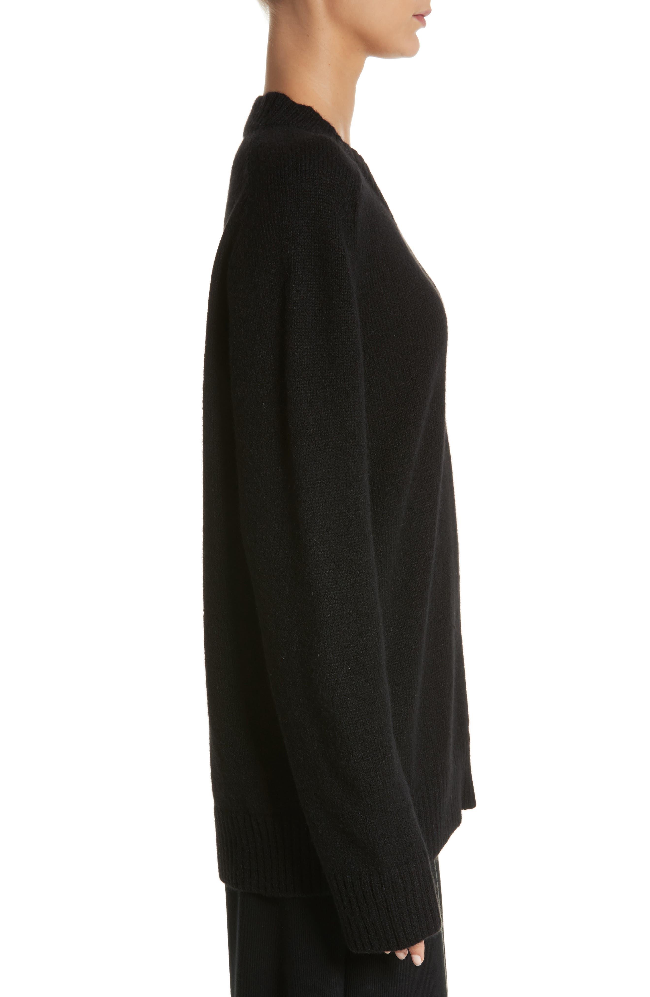 Alpaca Blend V-Neck Sweater,                             Alternate thumbnail 3, color,                             Black