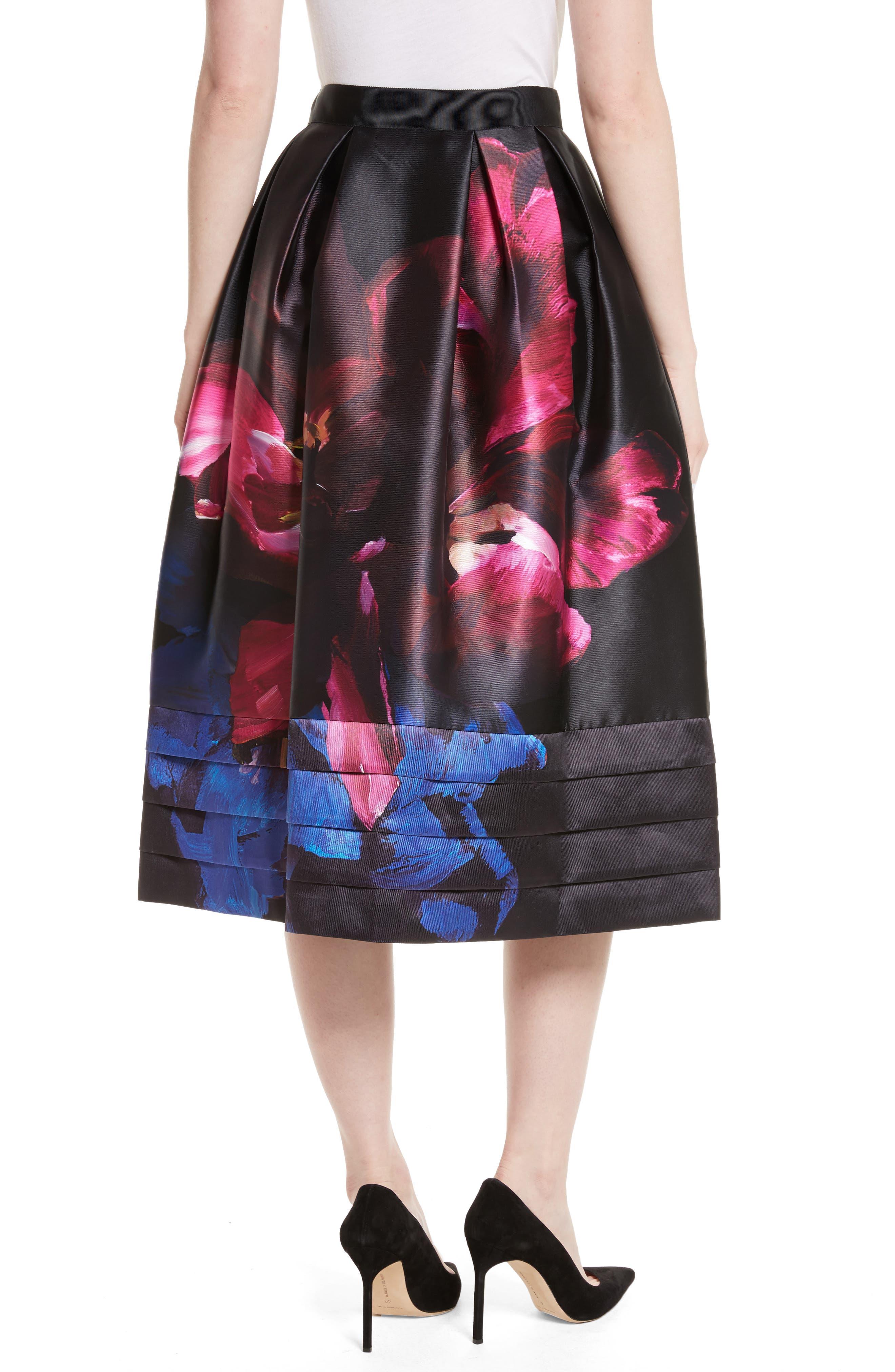 Nuala Impressionist Bloom Print Full Skirt,                             Alternate thumbnail 2, color,                             Black