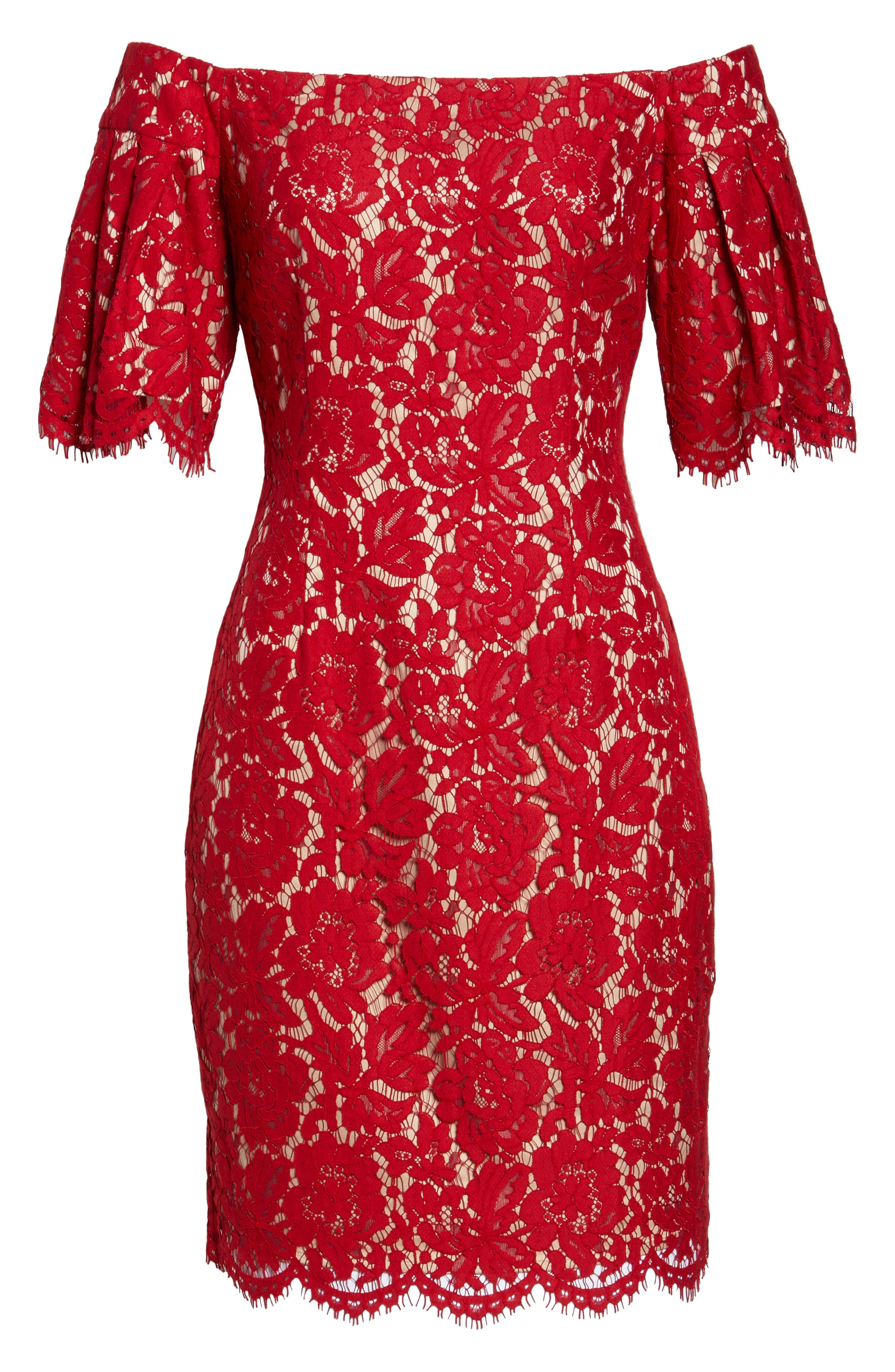 Flounce Sleeve Off the Shoulder Lace Sheath Dress,                             Alternate thumbnail 6, color,                             Red