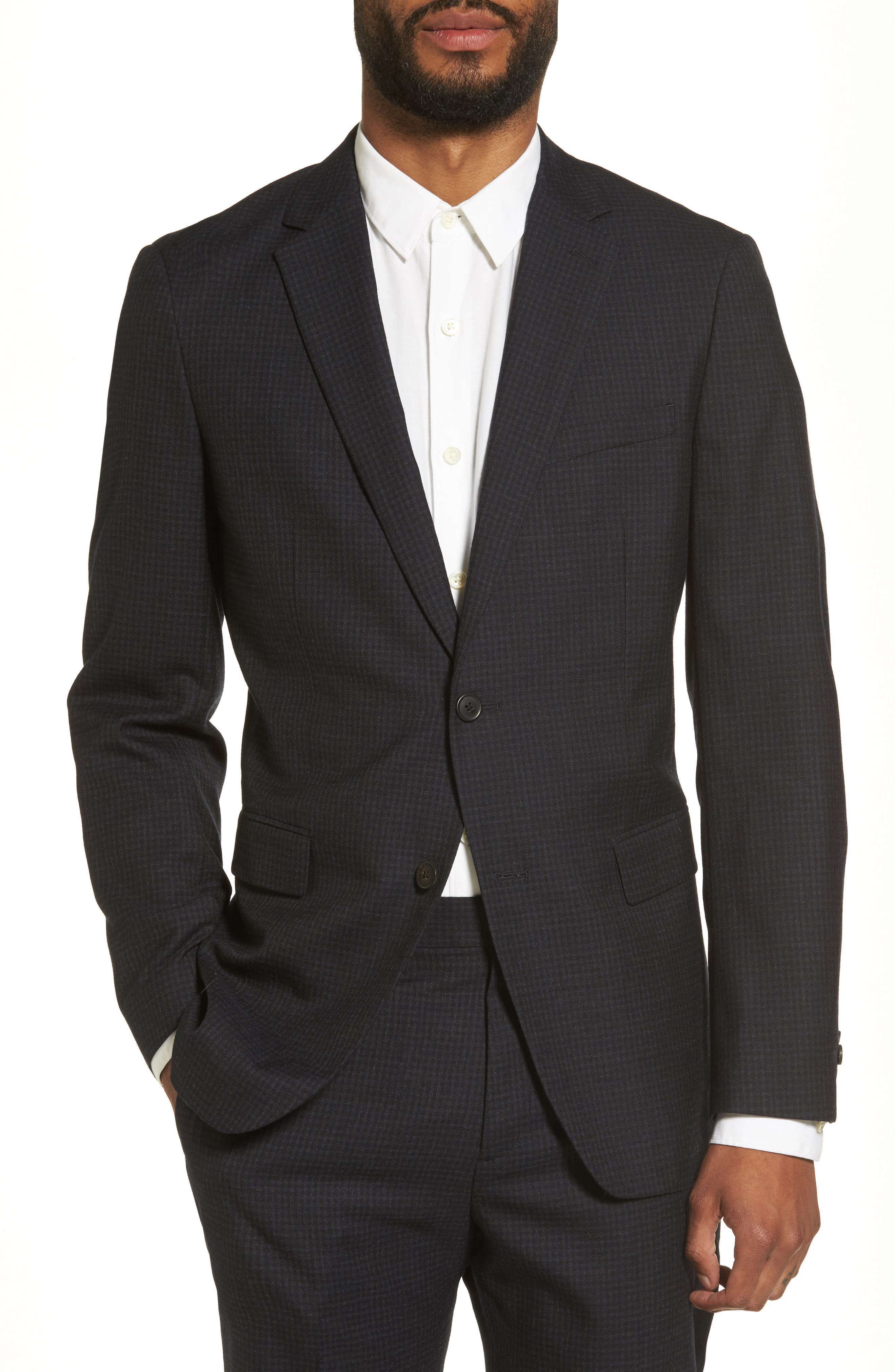 Trim Check Sport Coat,                             Main thumbnail 1, color,                             Eclipse Multi