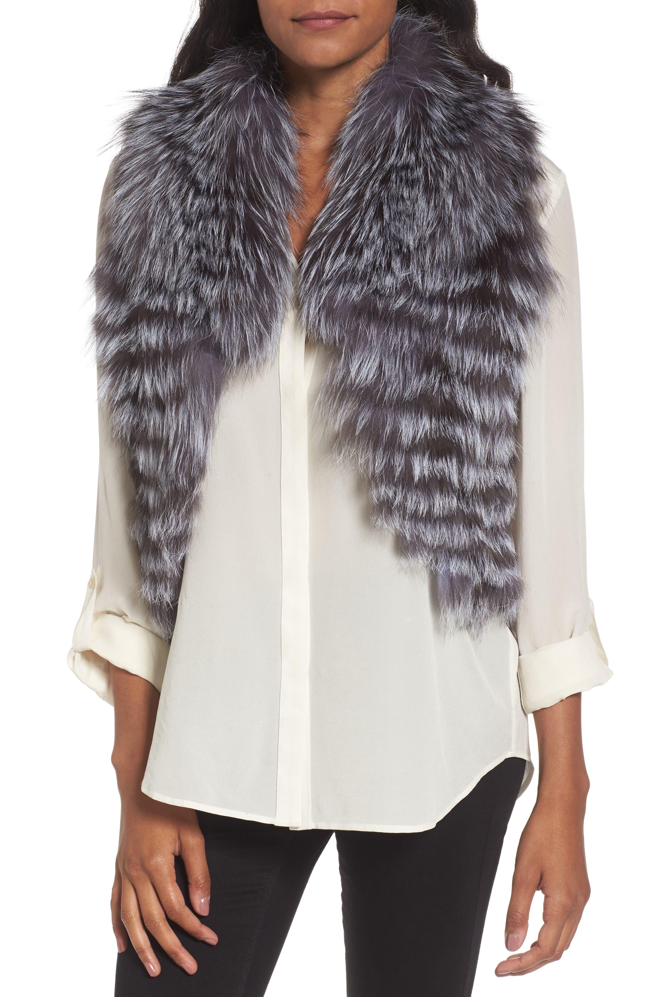 Genuine Fox Fur Vest,                         Main,                         color, Natural