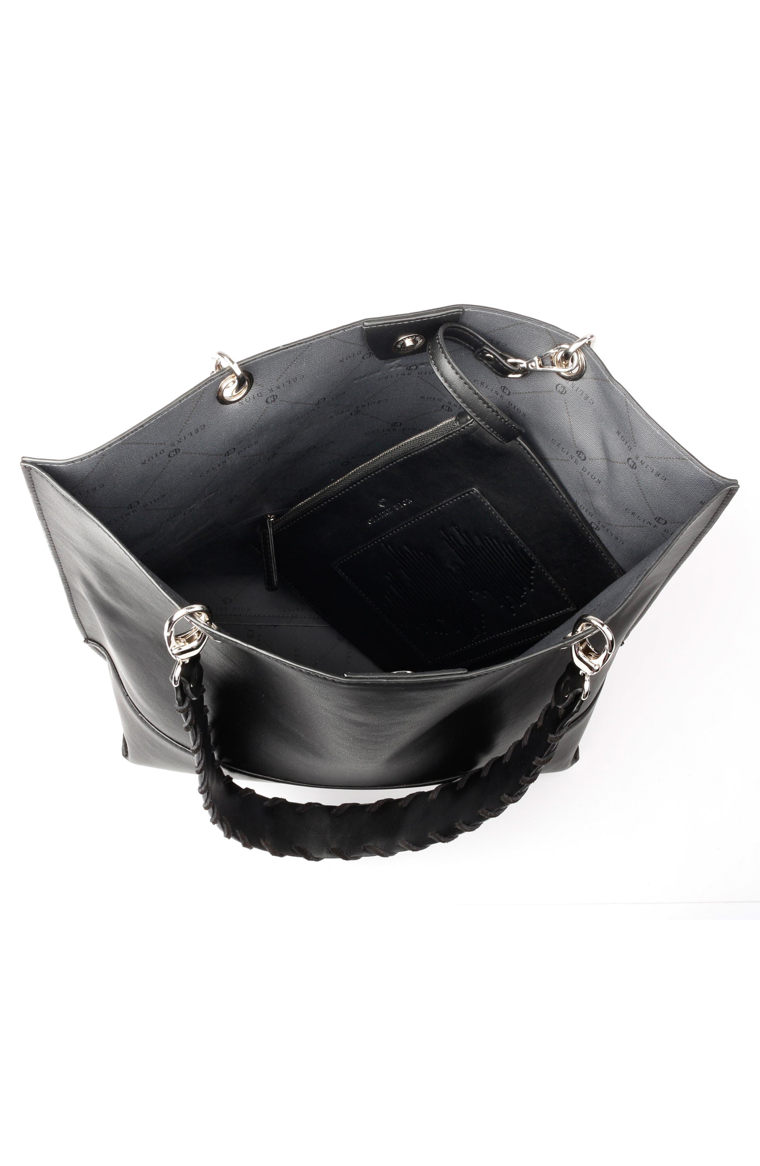 Céline Dion Espressivo Faux Leather Tote,                             Alternate thumbnail 3, color,                             Black
