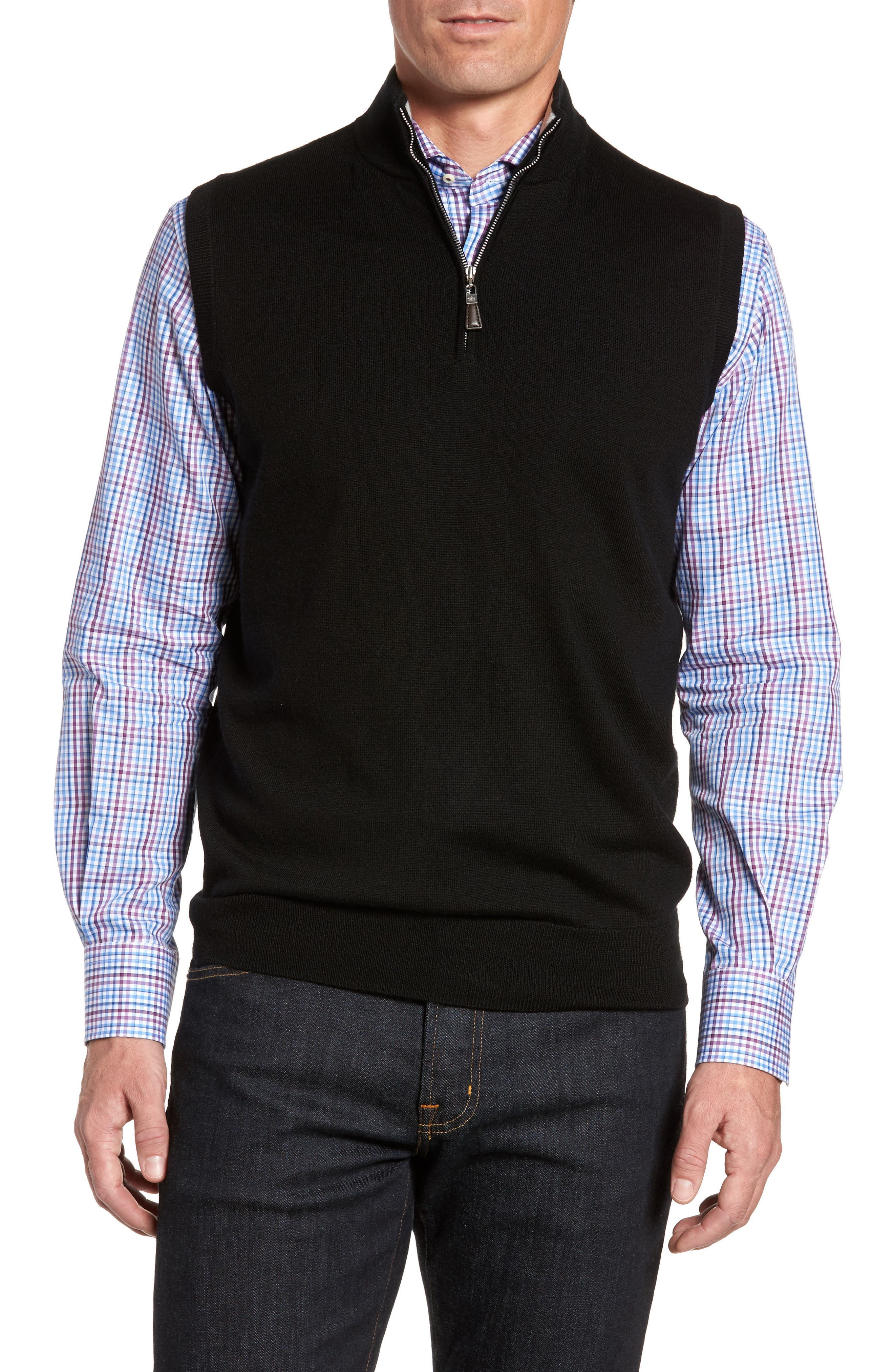 Men's Peter Millar Black Sweater Vests | Nordstrom
