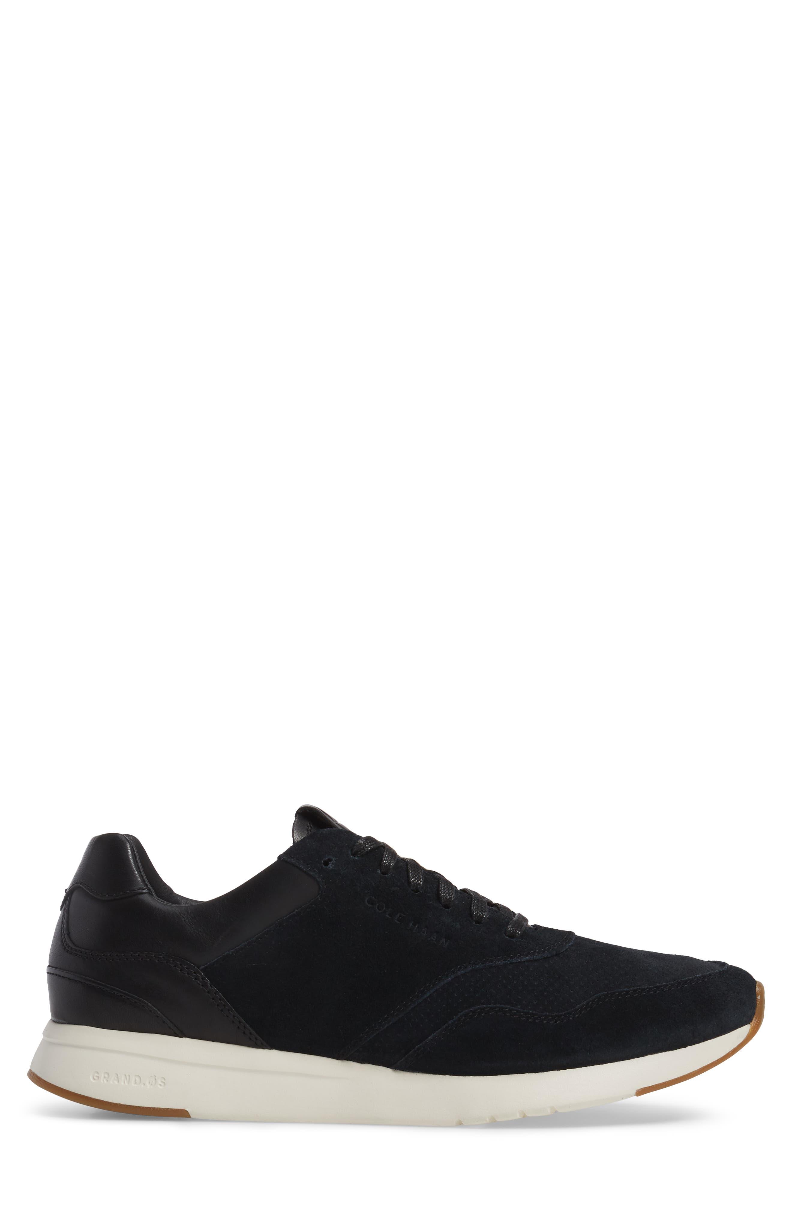 GrandPro Runner Sneaker,                             Alternate thumbnail 3, color,                             Black Leather
