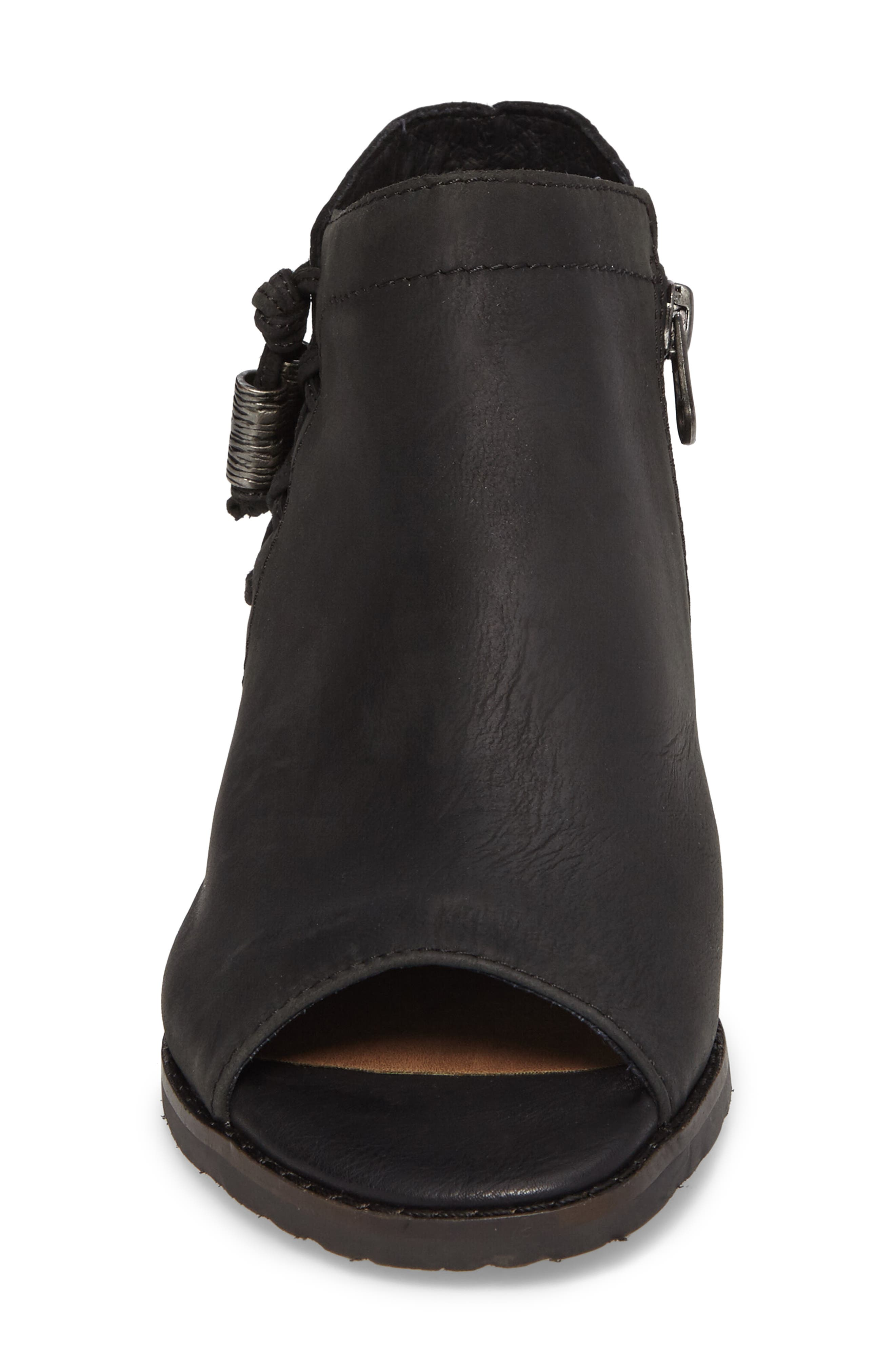 Truckage Open Toe Bootie,                             Alternate thumbnail 4, color,                             Black Leather
