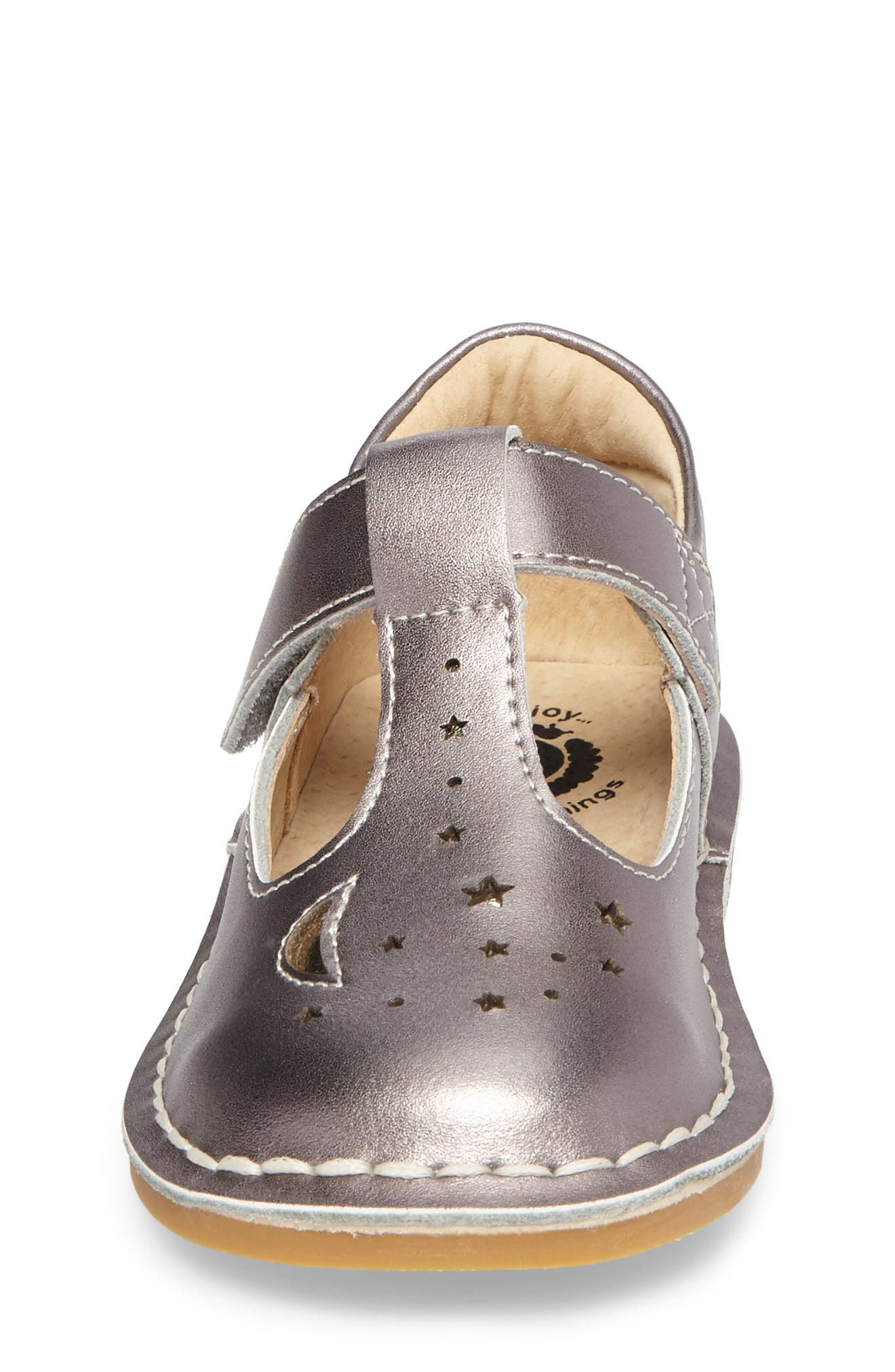 Mae T-Strap Flat,                             Alternate thumbnail 4, color,                             Pewter Metallic