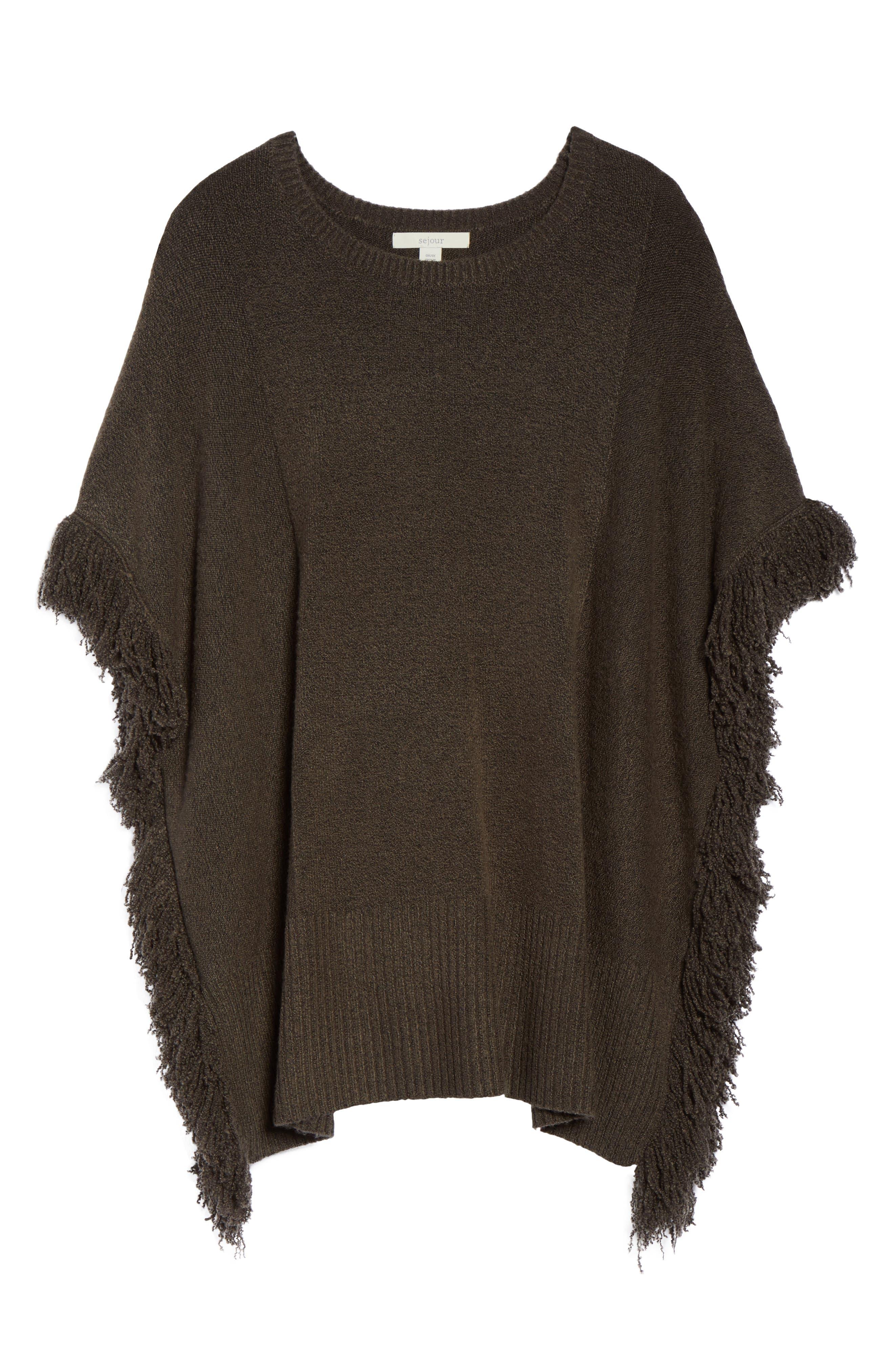 Fringe Poncho Sweater,                             Alternate thumbnail 7, color,                             Olive