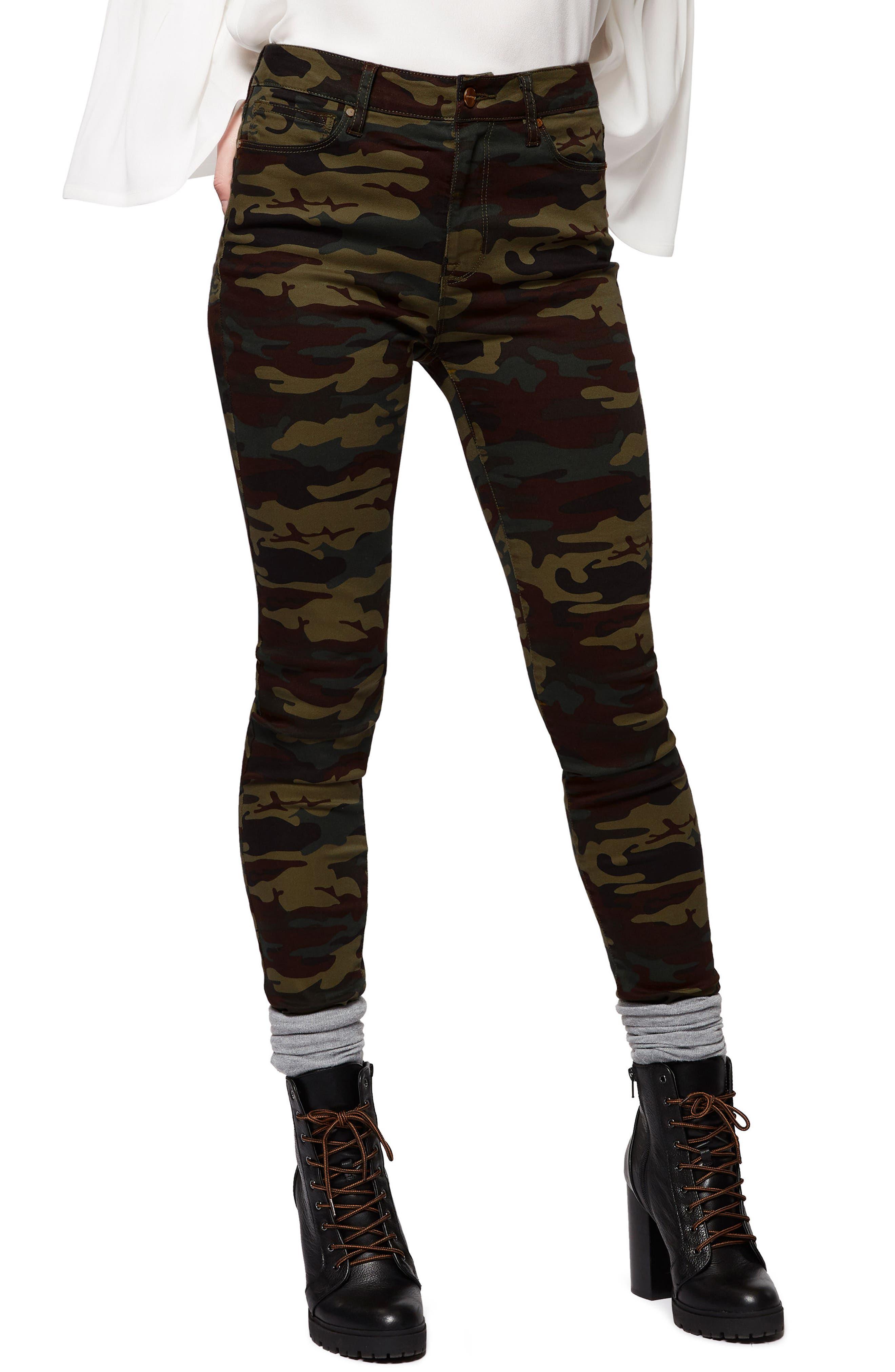 Robbie Camo Print Skinny Pants,                             Main thumbnail 1, color,                             Camp Camo