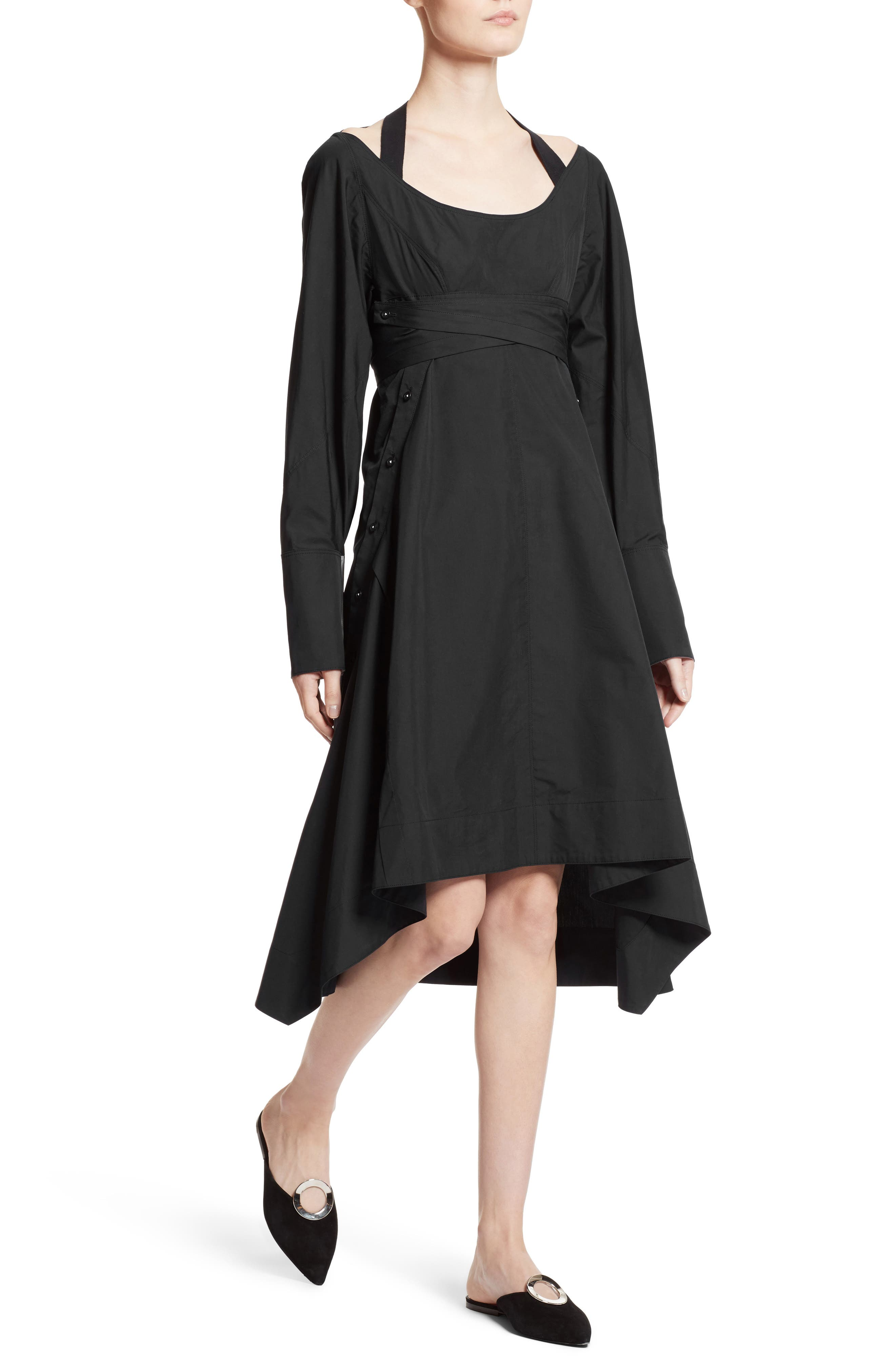 Cotton Poplin Wrap Dress,                             Alternate thumbnail 4, color,                             Black