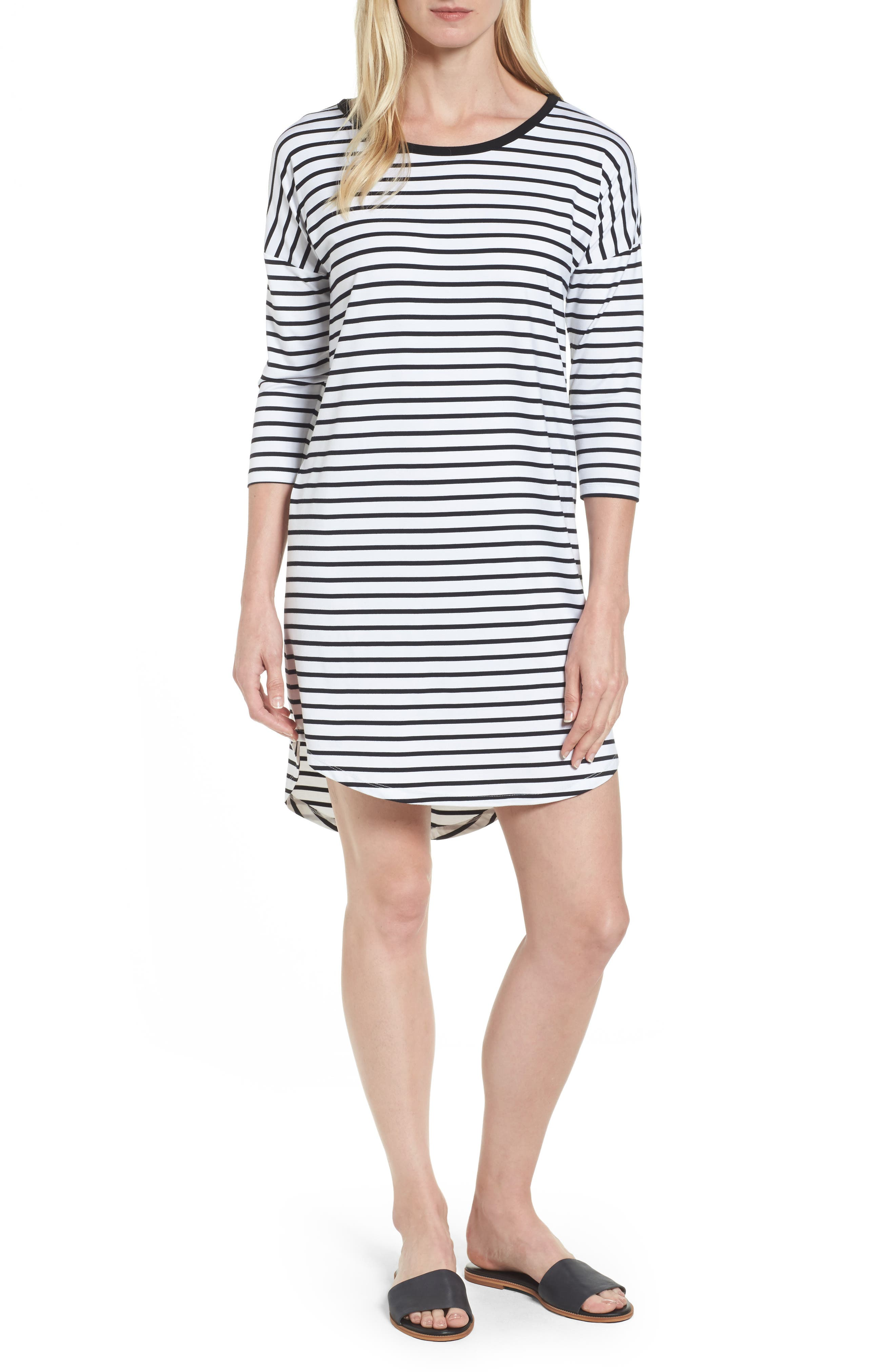 Stripe T-Shirt Dress,                         Main,                         color, Ivory/ Black
