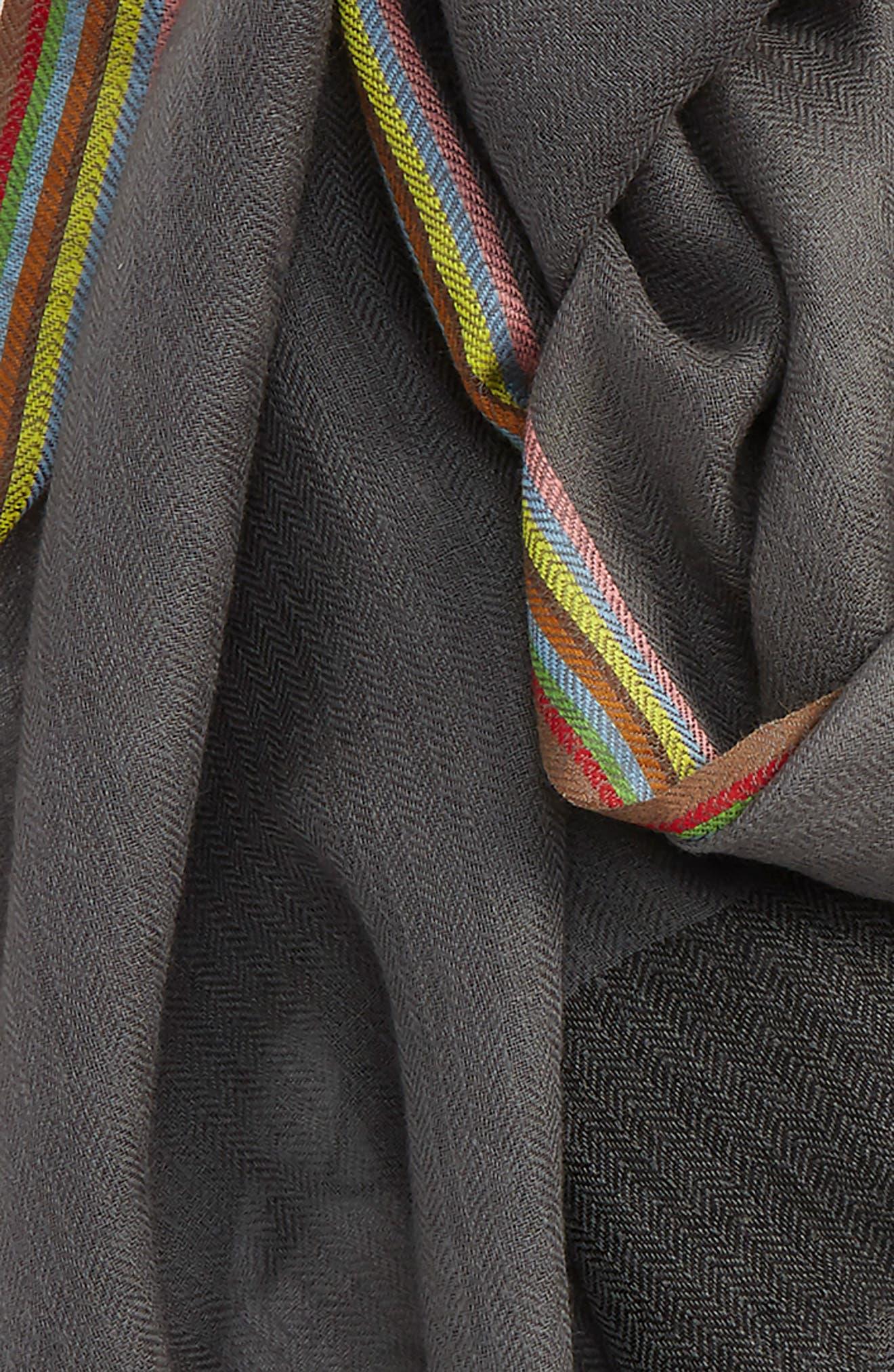 Stripe Herringbone Wool Scarf,                             Alternate thumbnail 3, color,                             Grey
