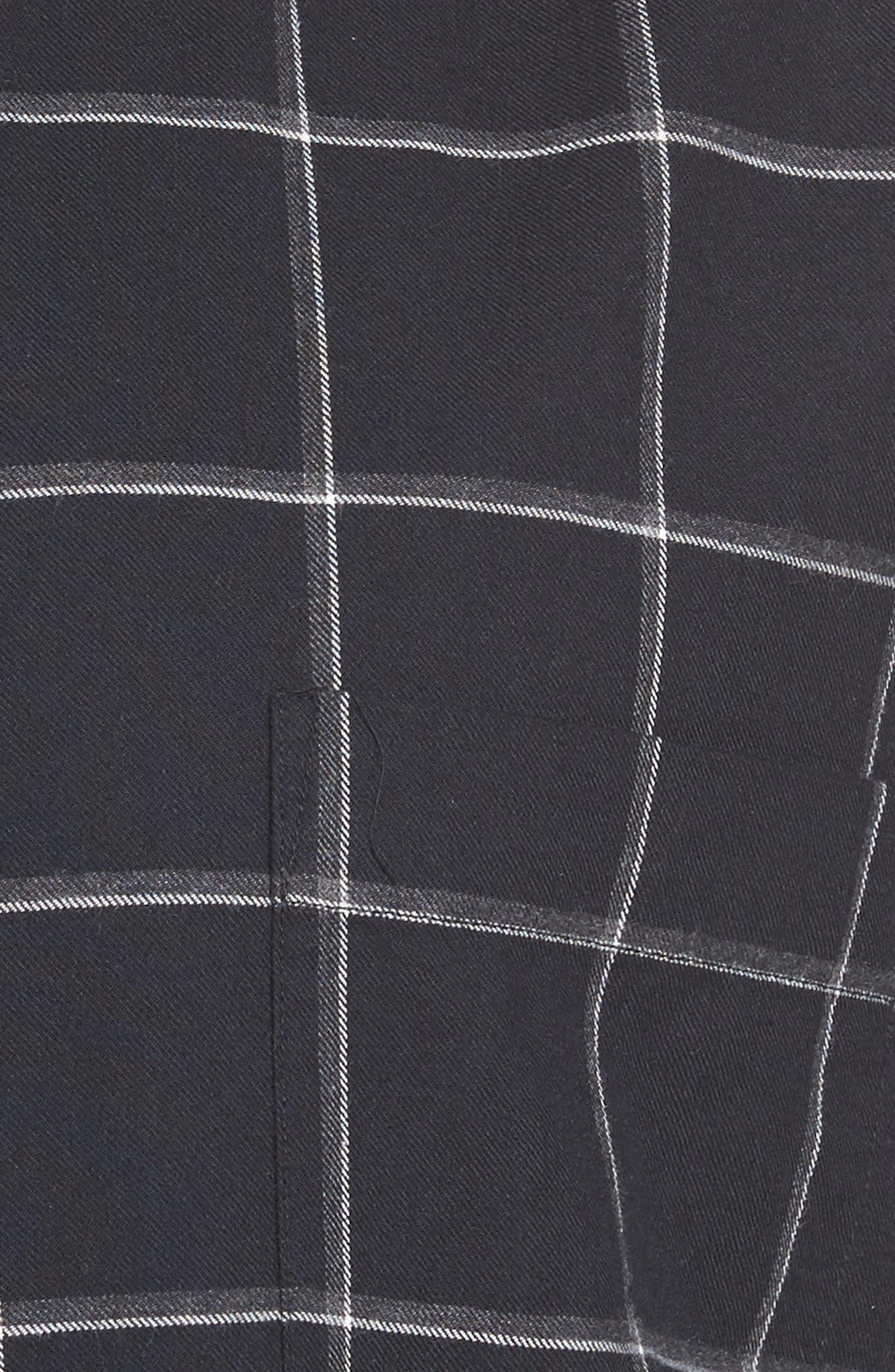 Darlington Sports Fit Windowpane Sport Shirt,                             Alternate thumbnail 5, color,                             Nero