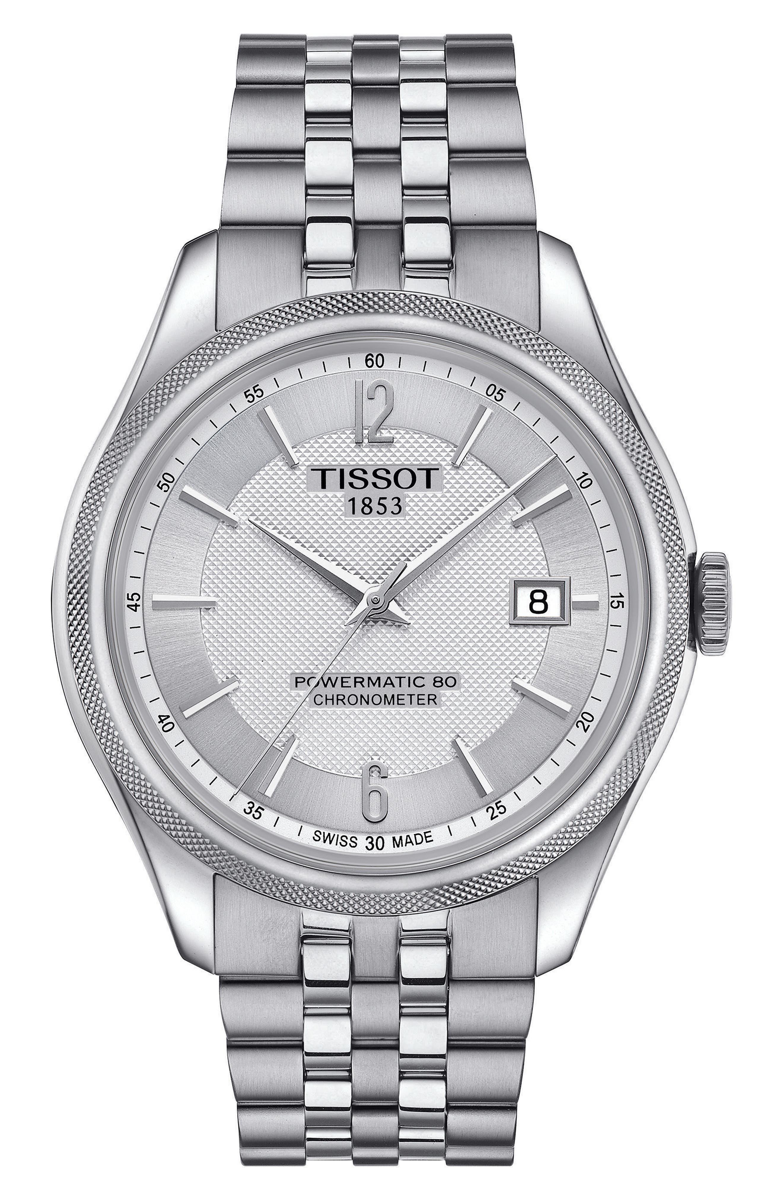 Ballade Powermatic 80 Chronometer Bracelet Watch, 39mm x 41mm,                             Main thumbnail 1, color,                             Silver
