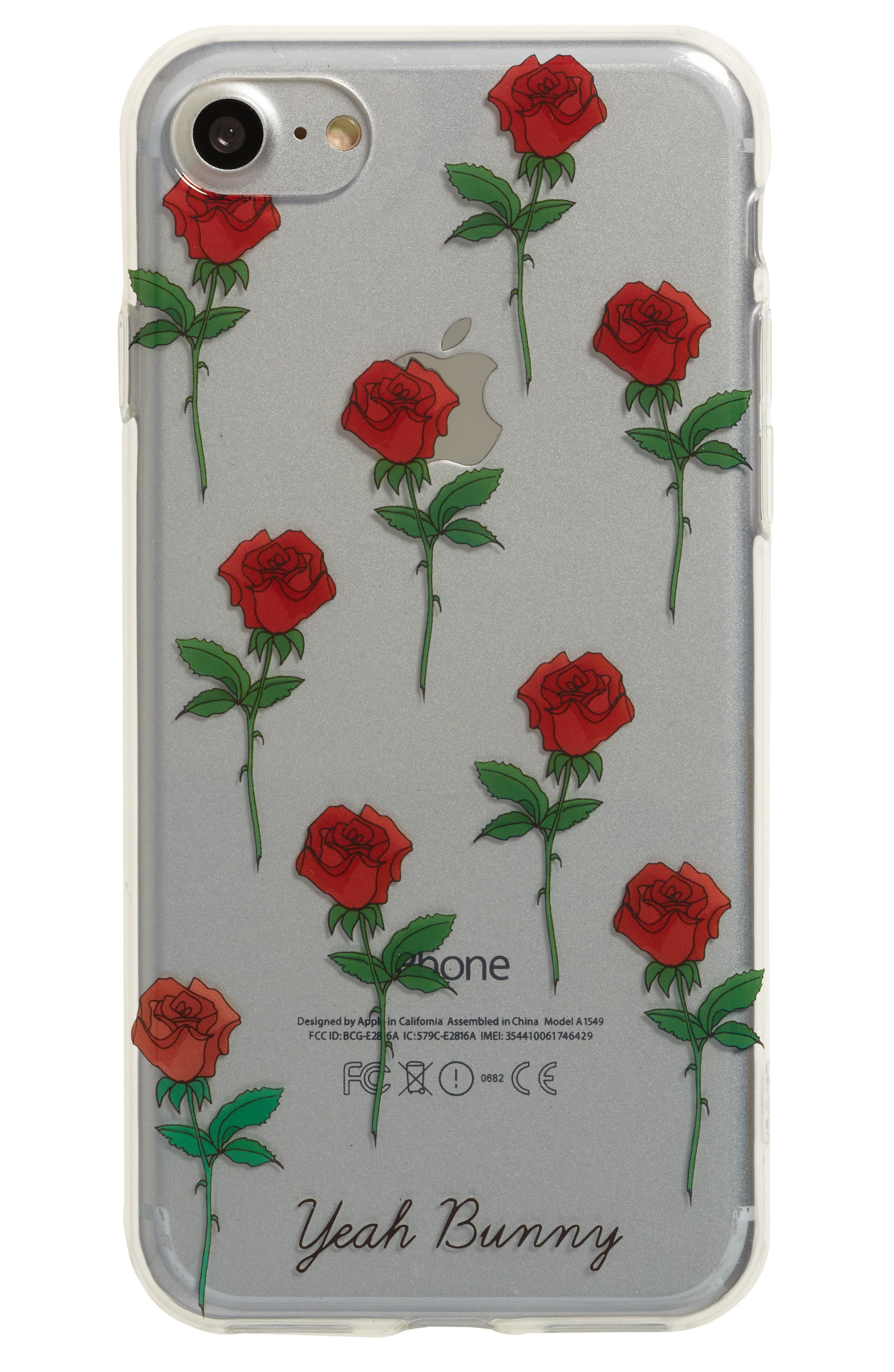 Red Roses iPhone 7 Case,                         Main,                         color, Clear/ Red