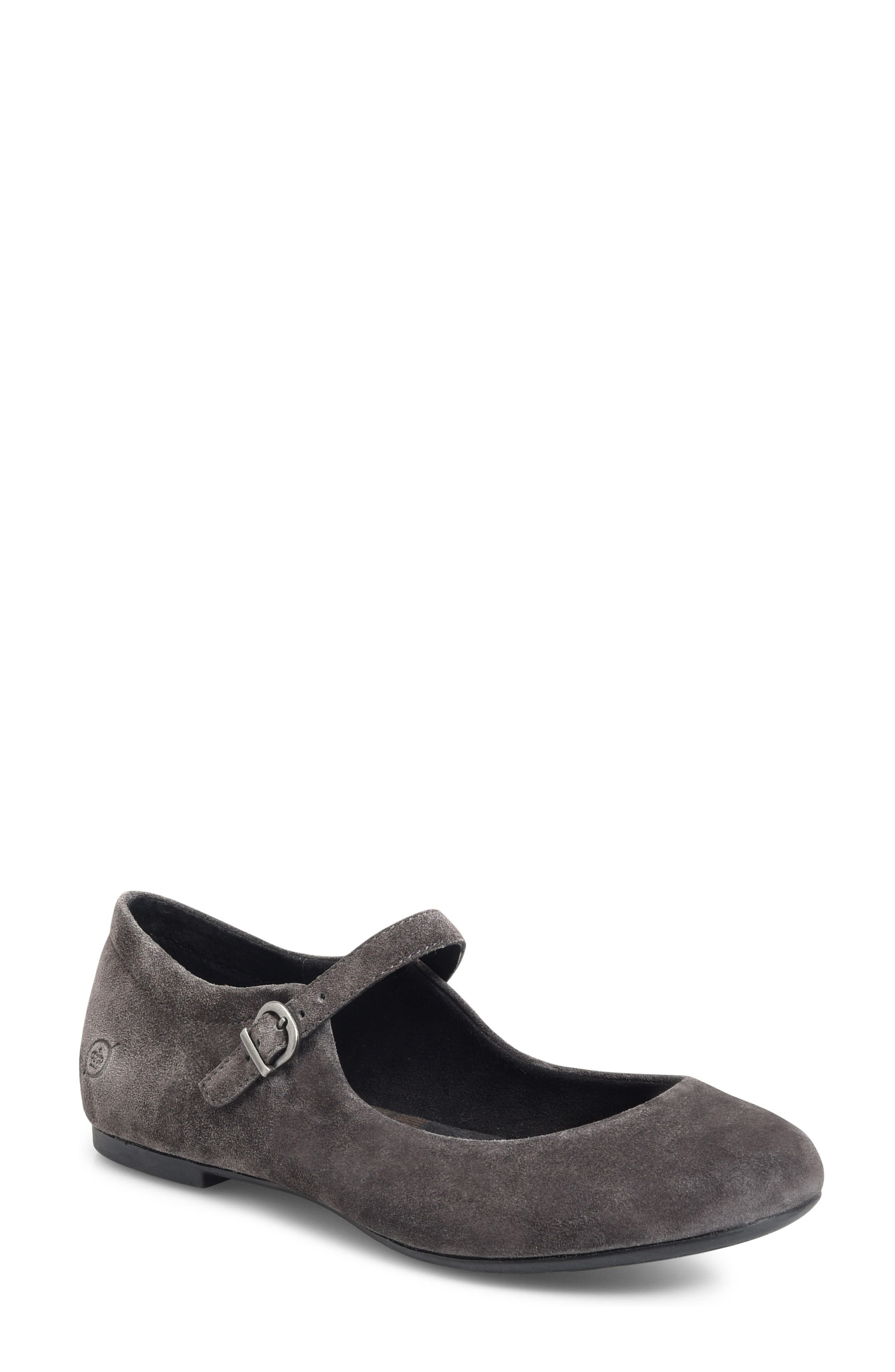 Arnor Mary Jane Flat,                             Main thumbnail 1, color,                             Dark Grey Suede