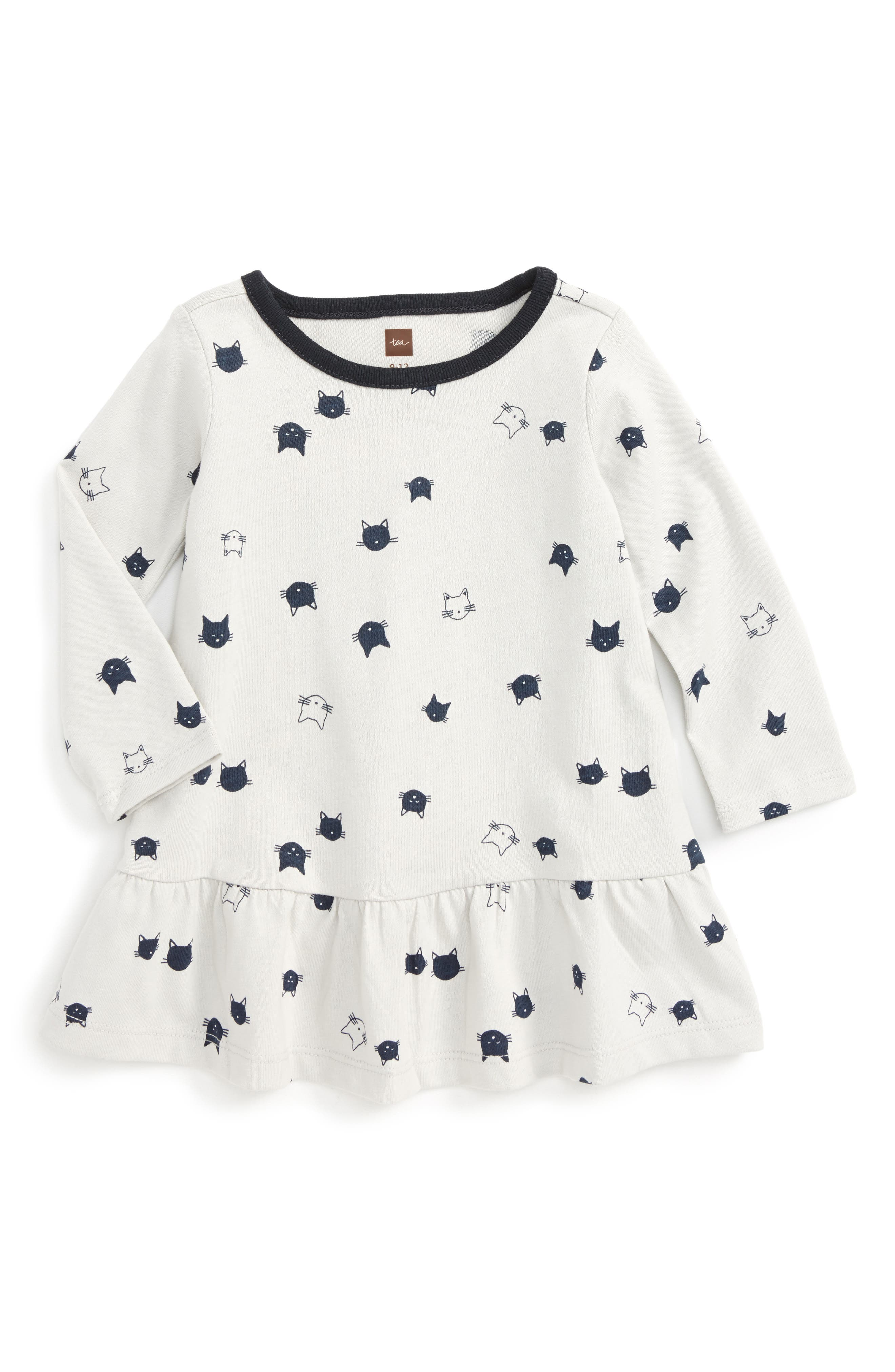 Tea Collection Moggy Cat Ruffle Dress (Baby Girls)