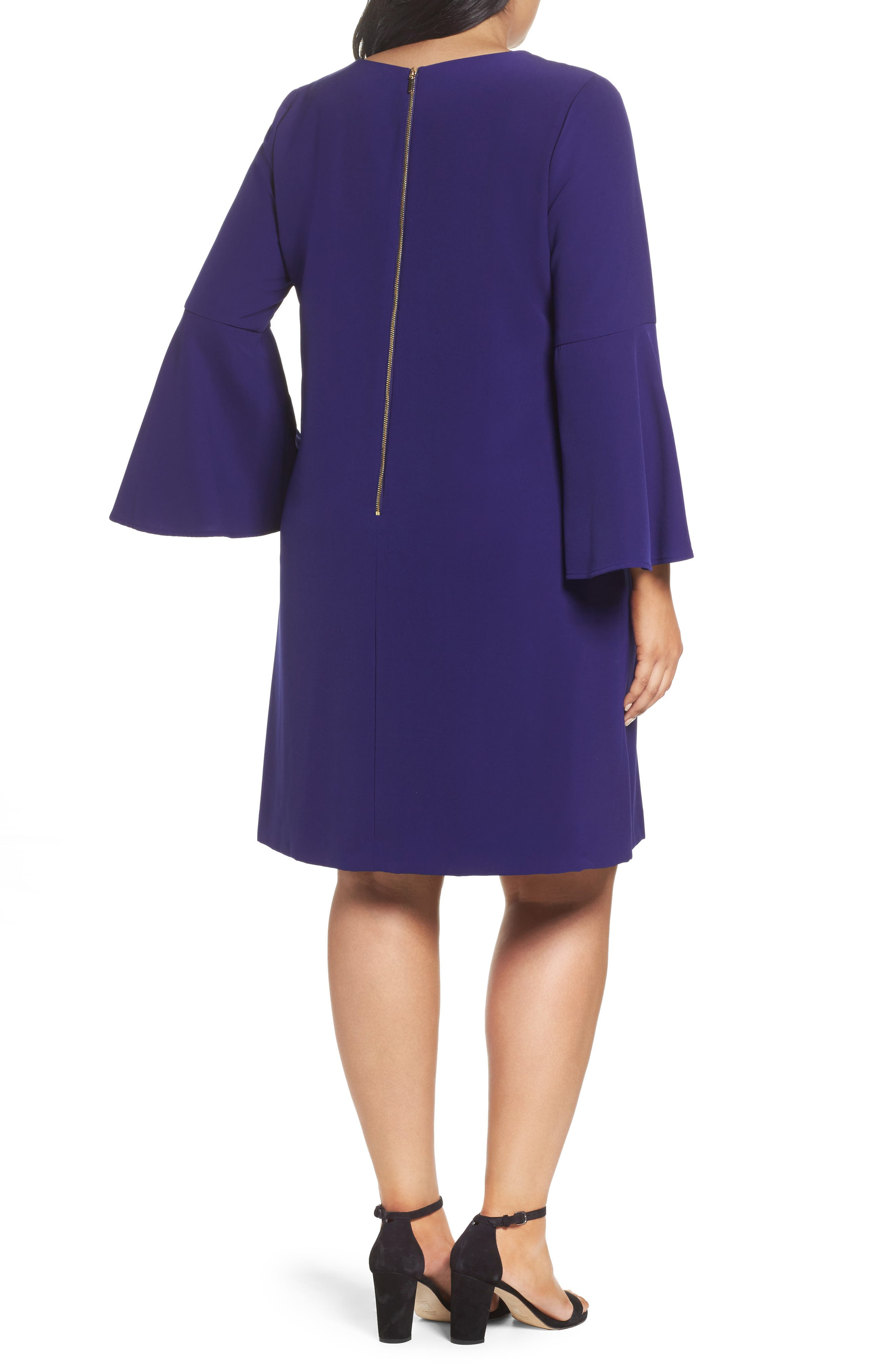 Bell Sleeve Crepe Shift Dress,                             Alternate thumbnail 2, color,                             Violet