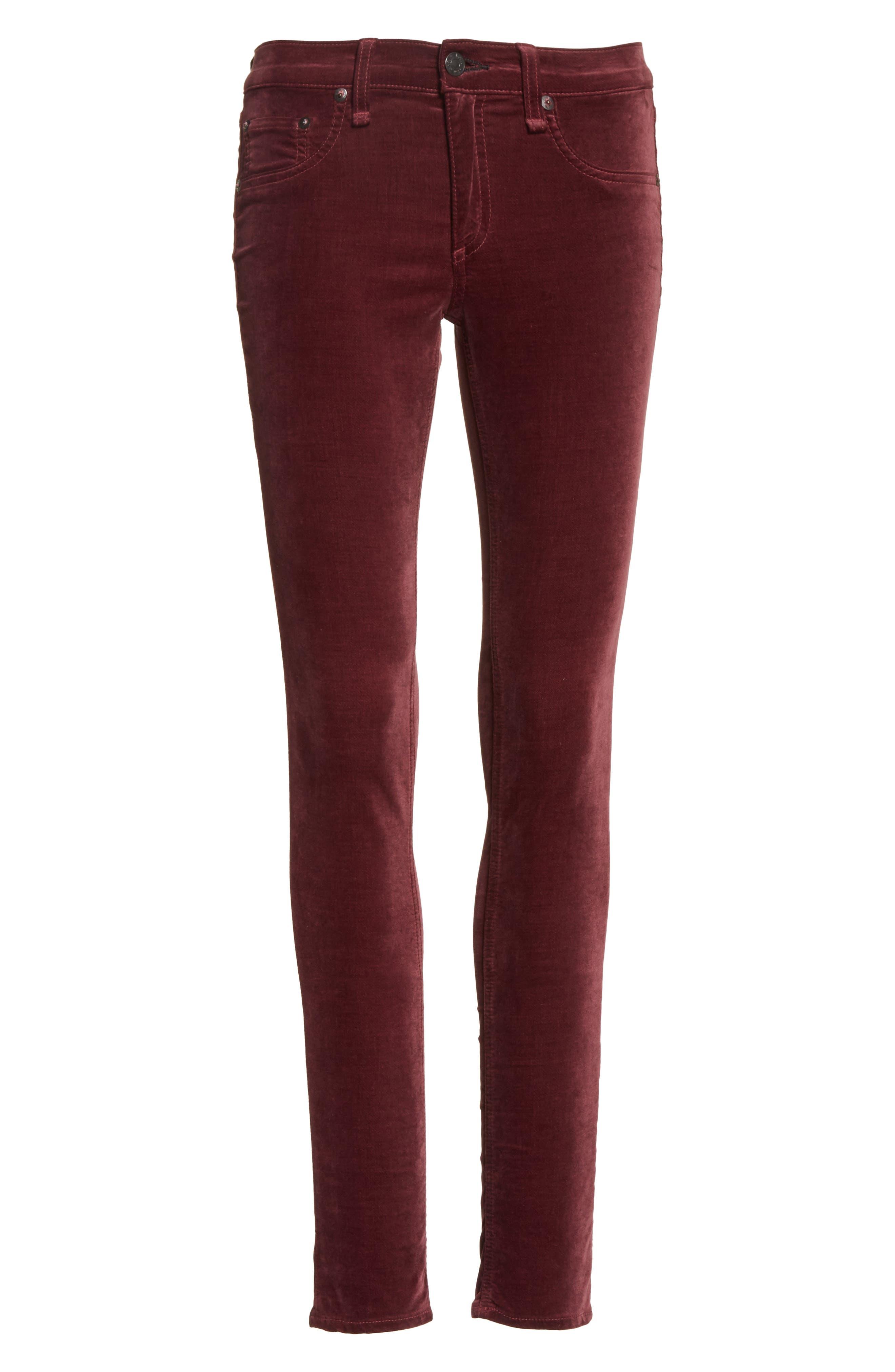 Alternate Image 6  - rag & bone/JEAN Velvet Skinny Jeans
