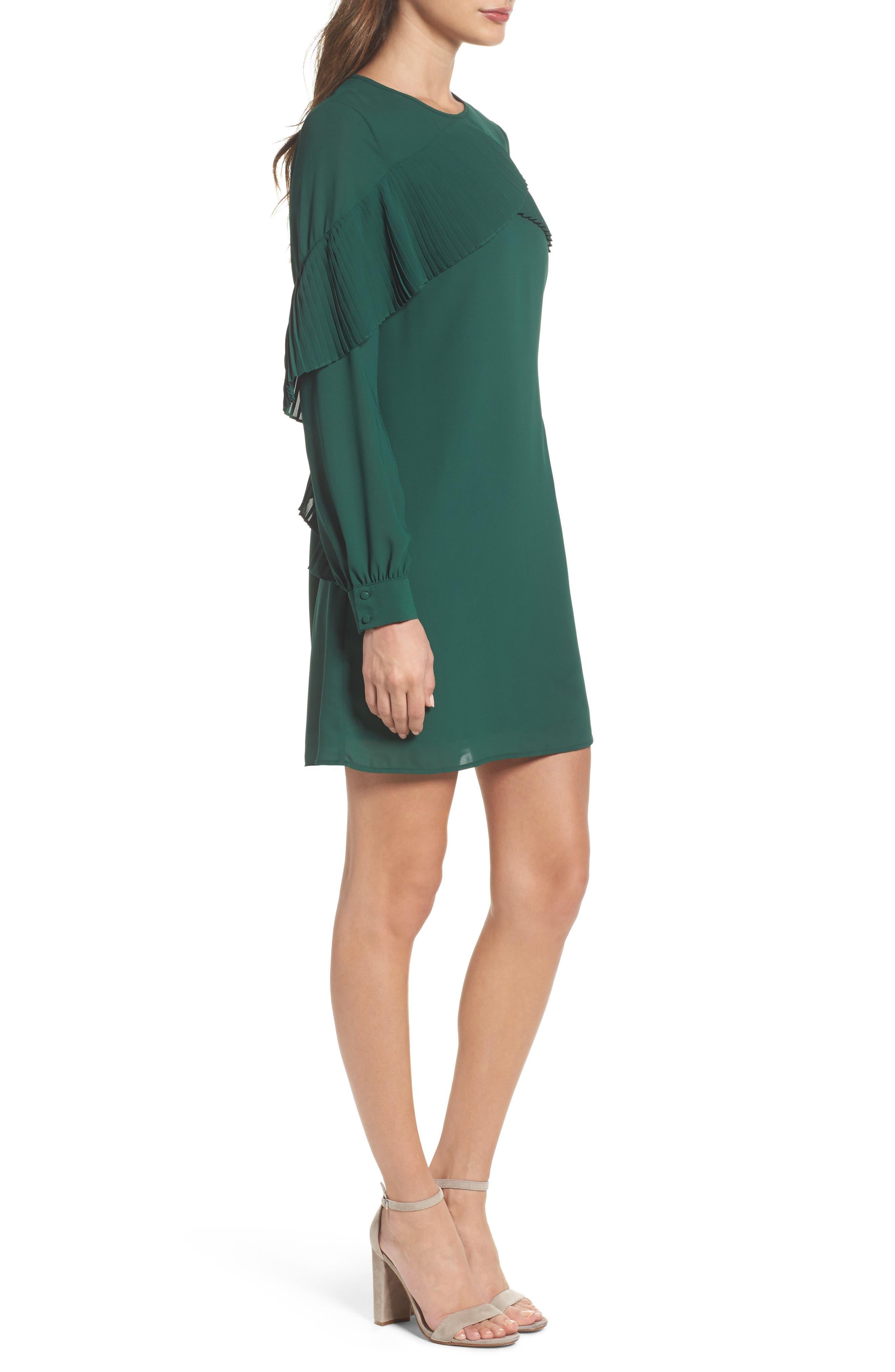 Ruffle Shift Dress,                             Alternate thumbnail 3, color,                             Green Evergreen