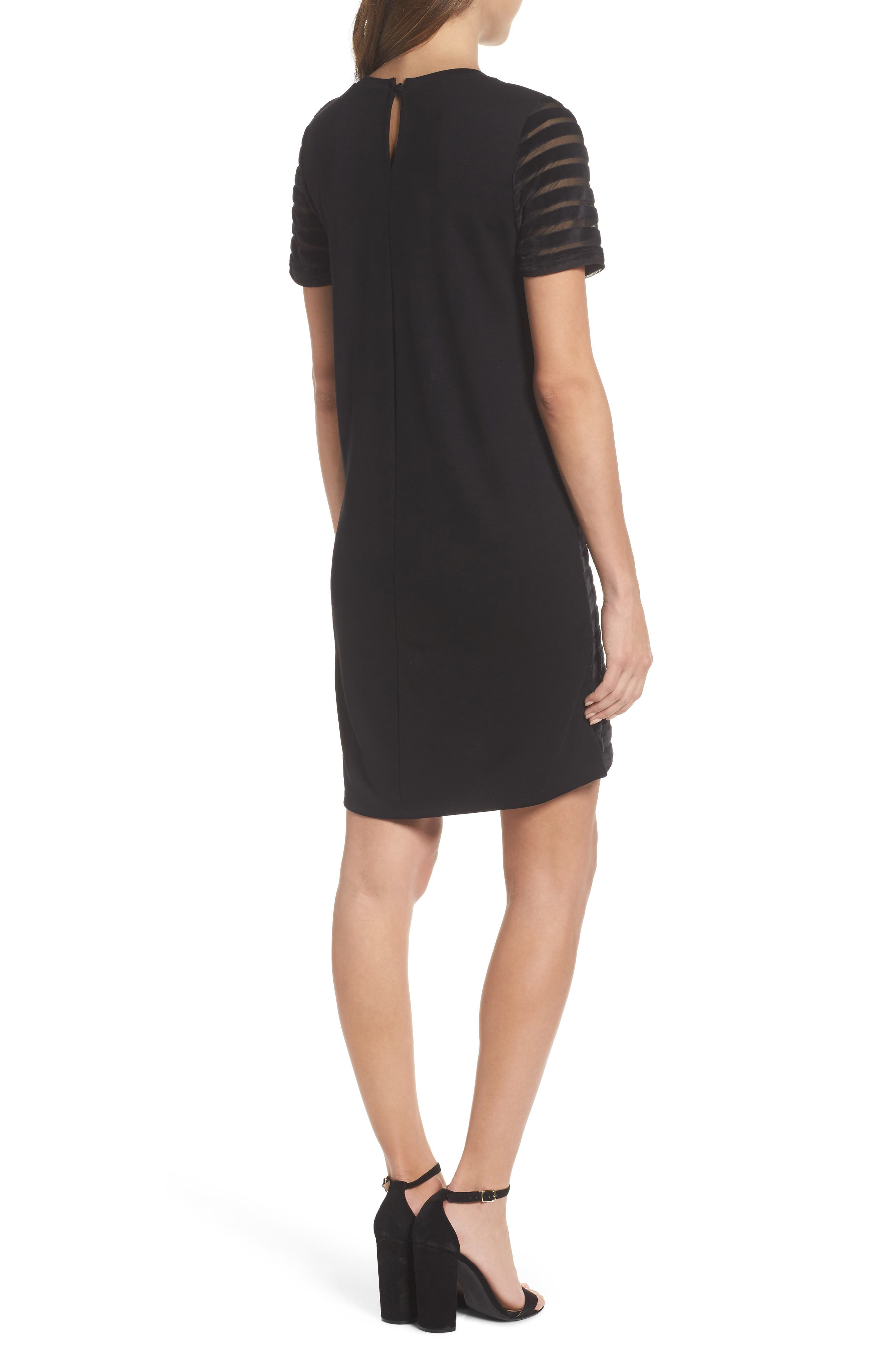 Velvet Stripe Shift Dress,                             Alternate thumbnail 2, color,                             Black