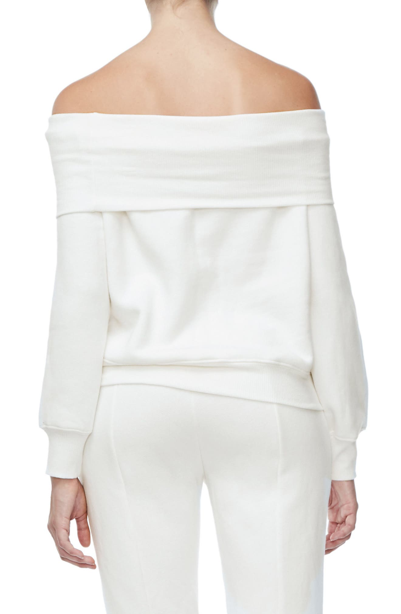 Alternate Image 2  - Good American Good Sweats The Cold Shoulder Sweatshirt (Regular & Plus Size)
