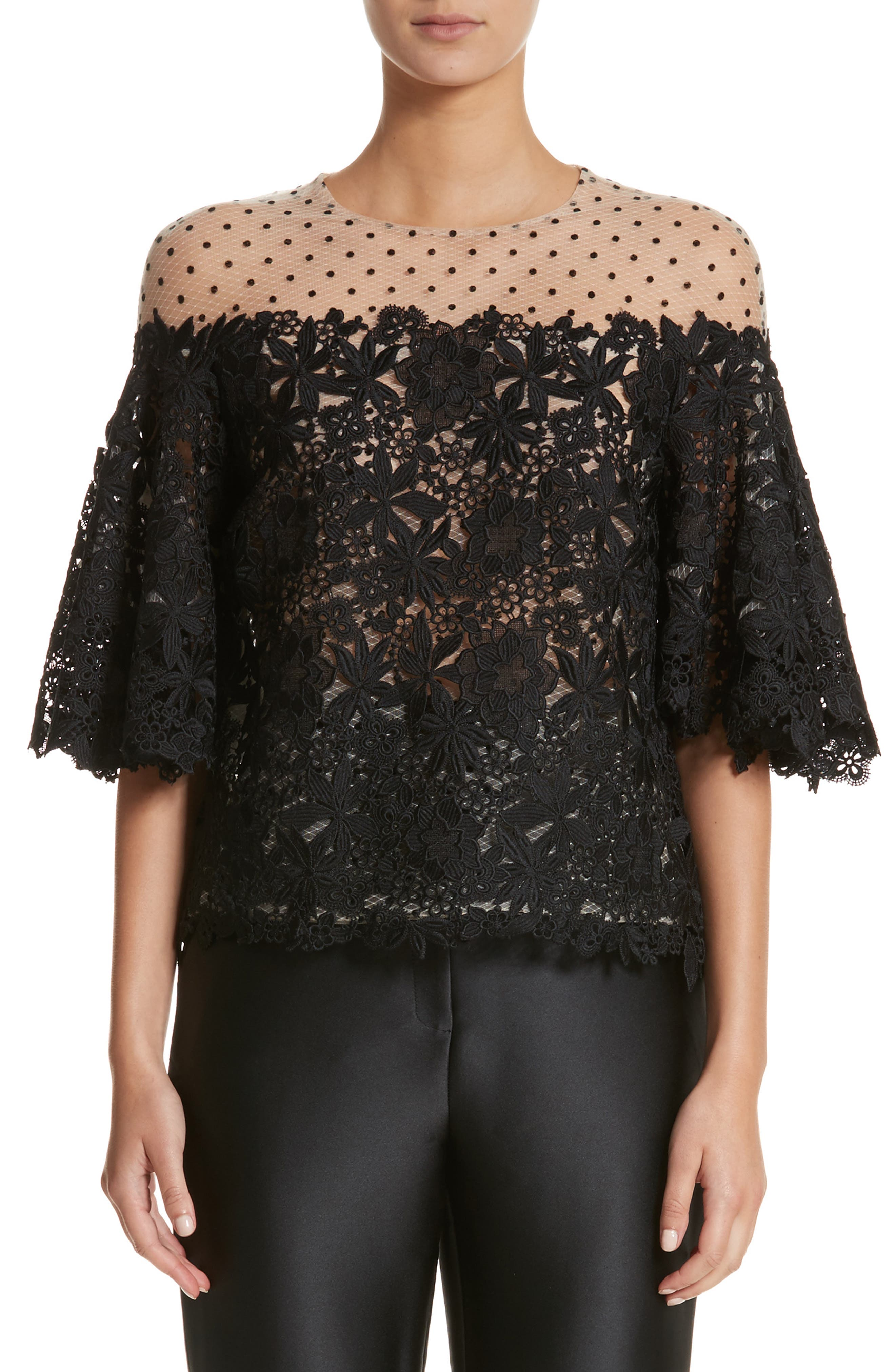 Monique Lhuillier Lace & Dot Flutter Sleeve Top