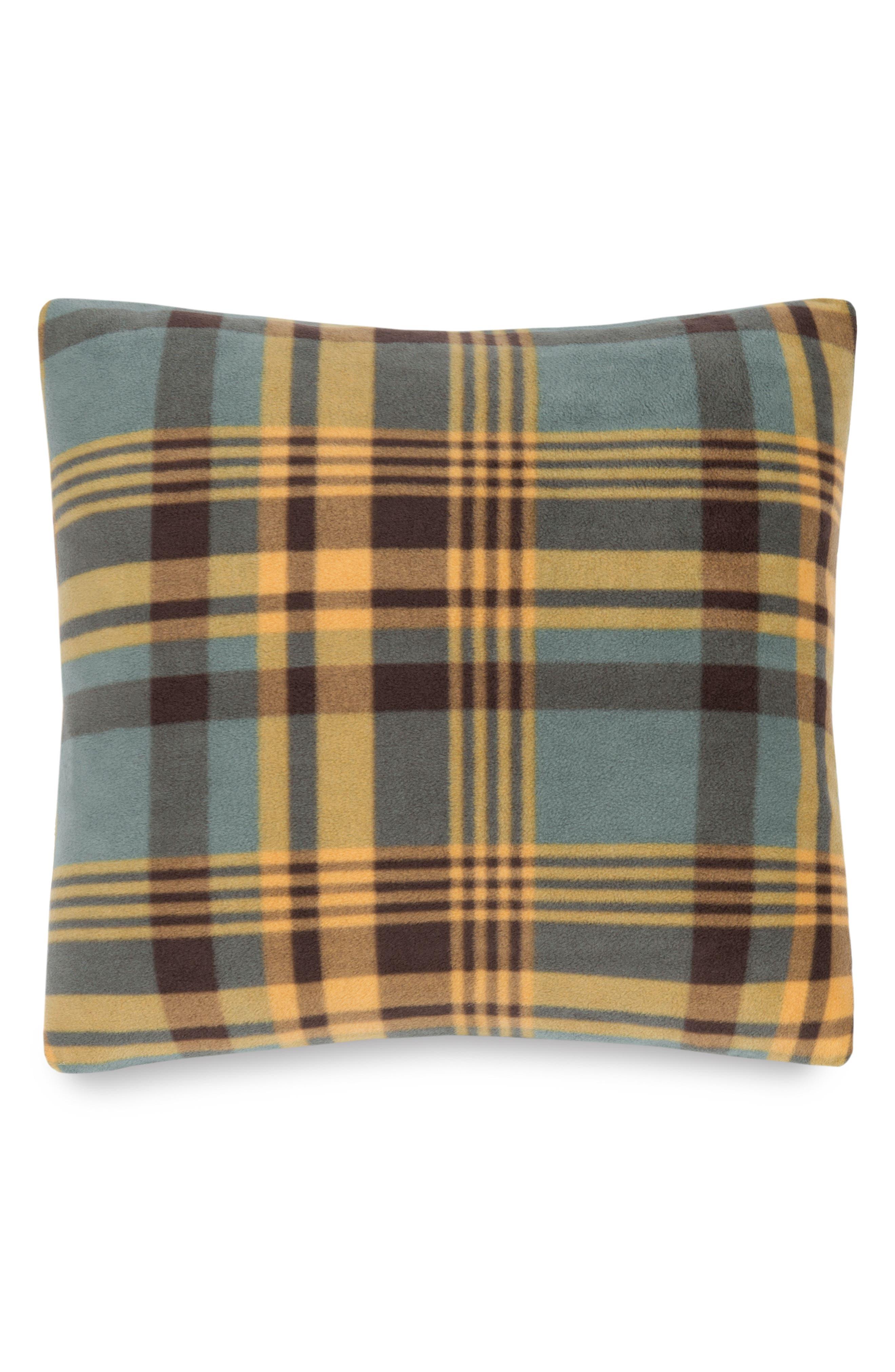 Plaid Fleece Pillow,                             Main thumbnail 1, color,                             Shale Mapleton Plaid