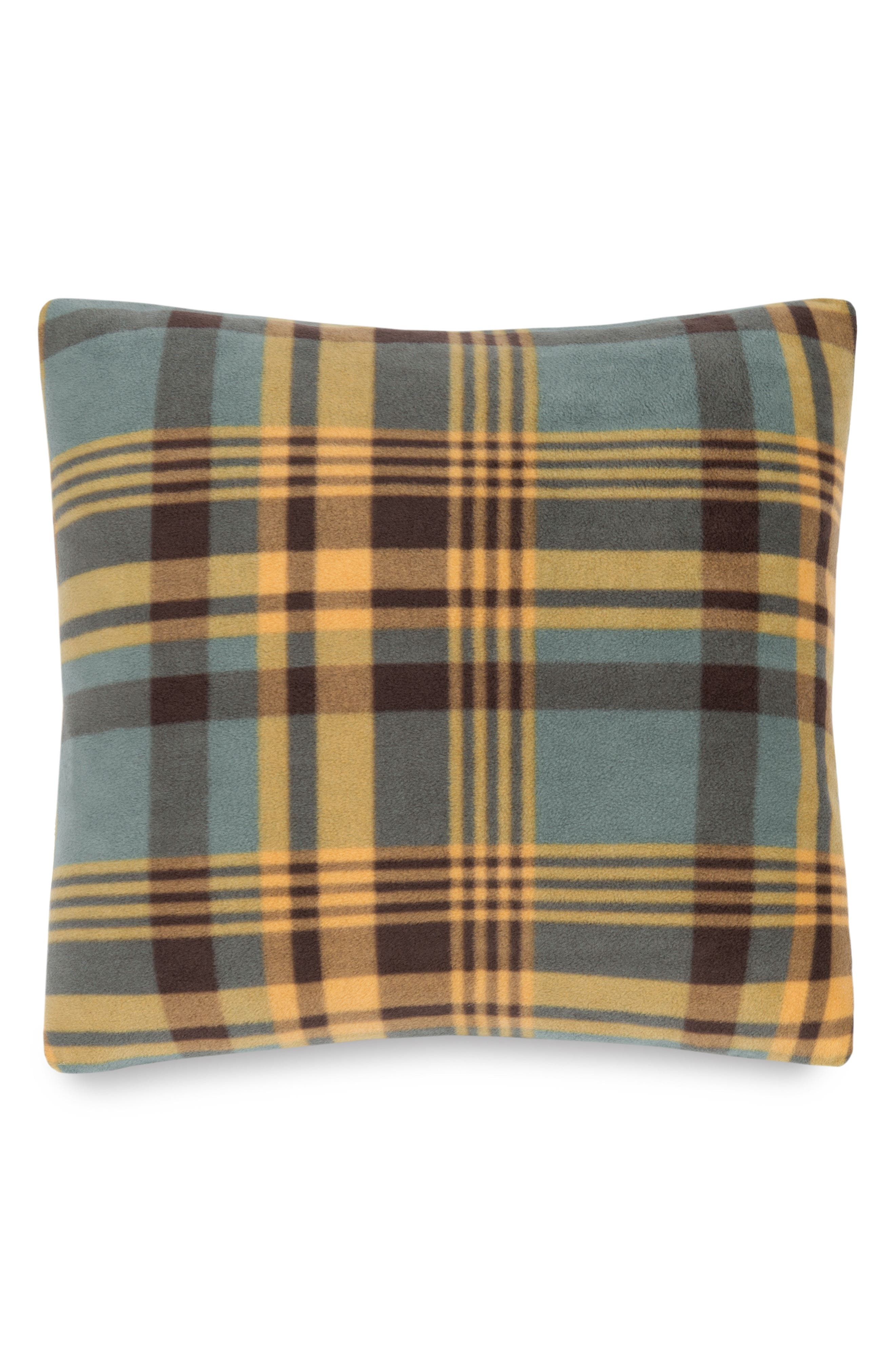 Plaid Fleece Pillow,                         Main,                         color, Shale Mapleton Plaid