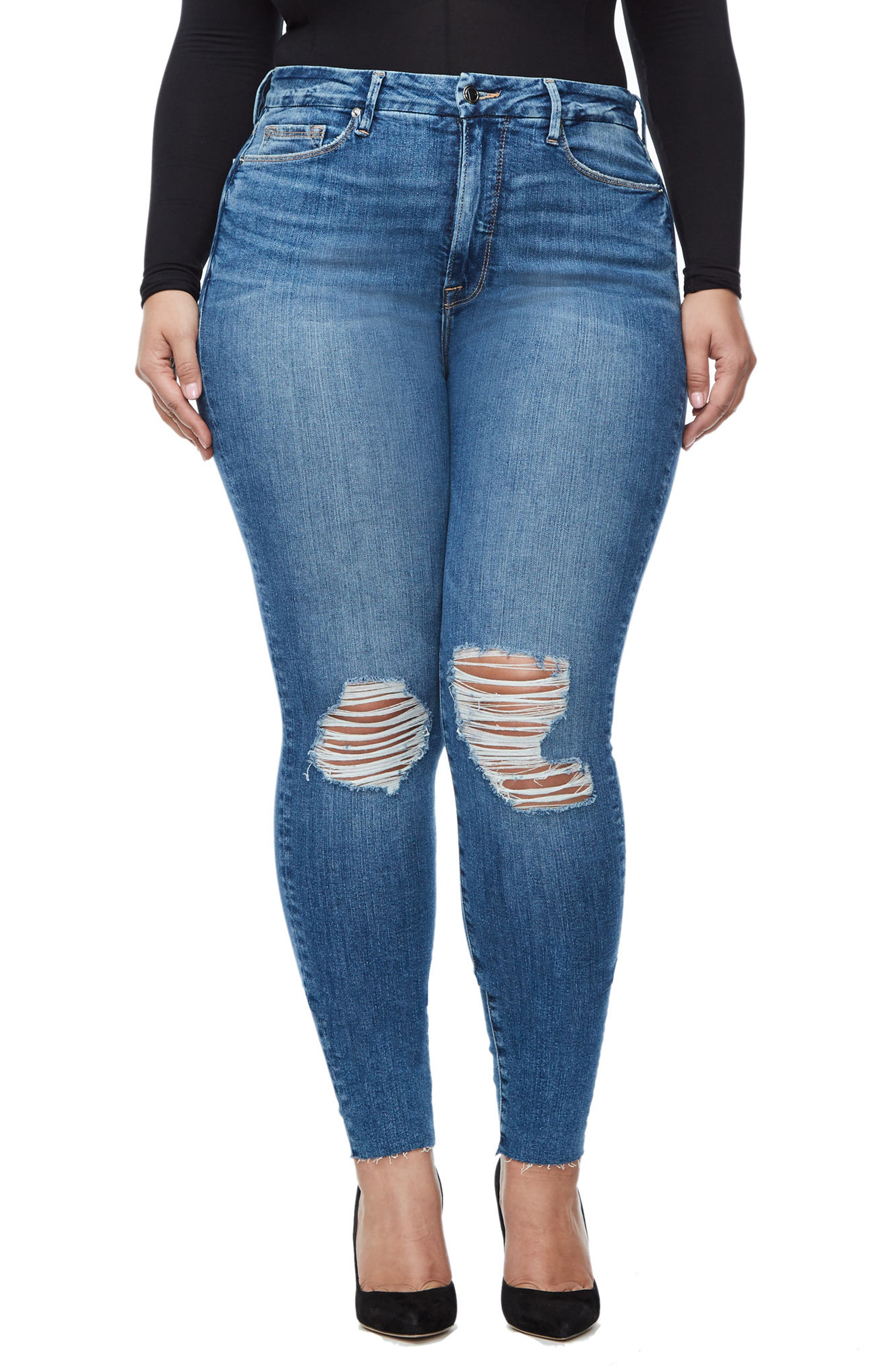 Alternate Image 4  - Good American Good Waist Raw Edge Skinny Jeans (Blue 092) (Extended Sizes)