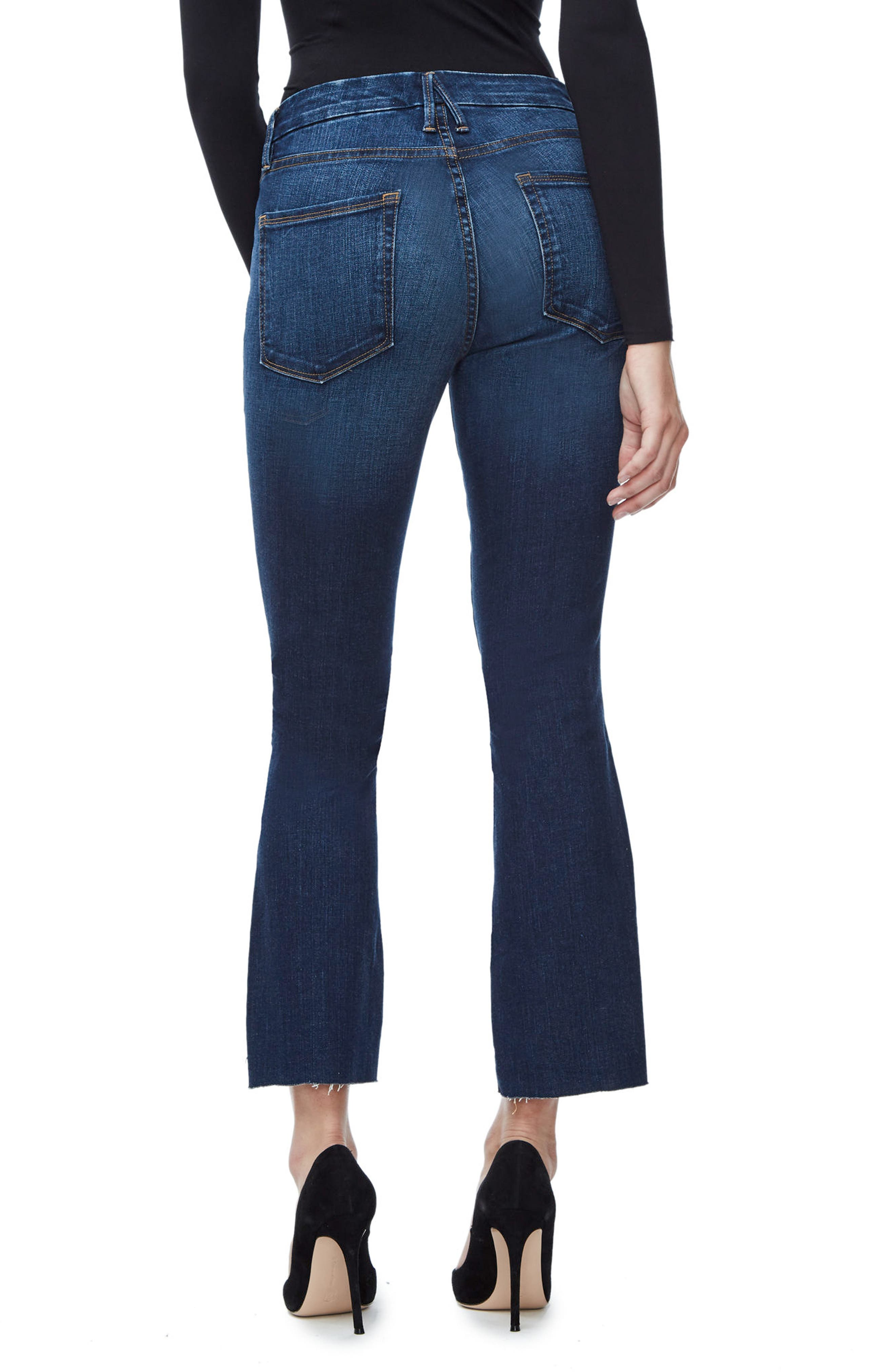 Alternate Image 2  - Good American Good Boot Crop Step Hem Bootcut Jeans (Blue 091) (Extended Sizes)