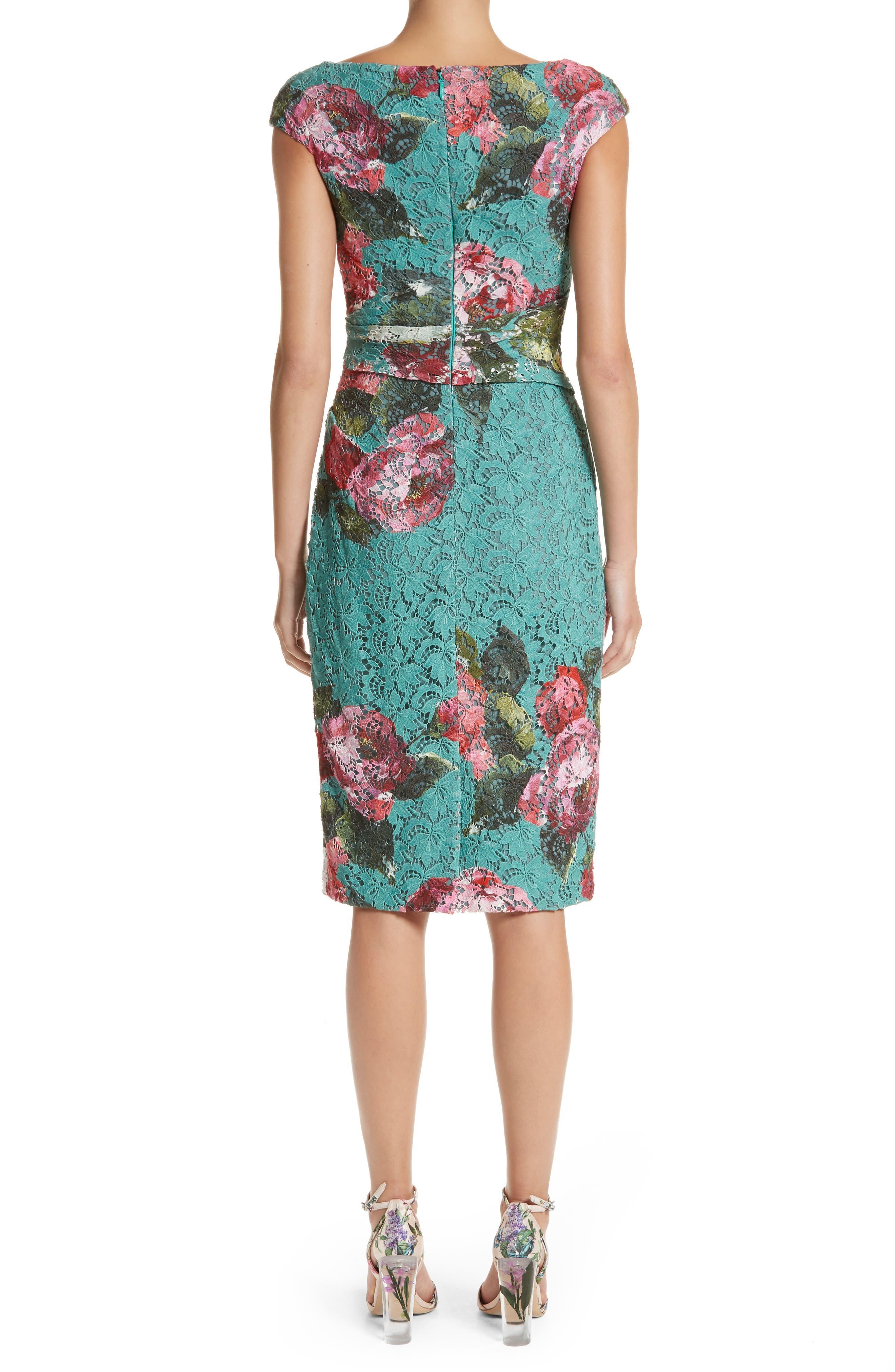 Alternate Image 3  - Monique Lhuillier Rose Print Guipure Sheath Dress