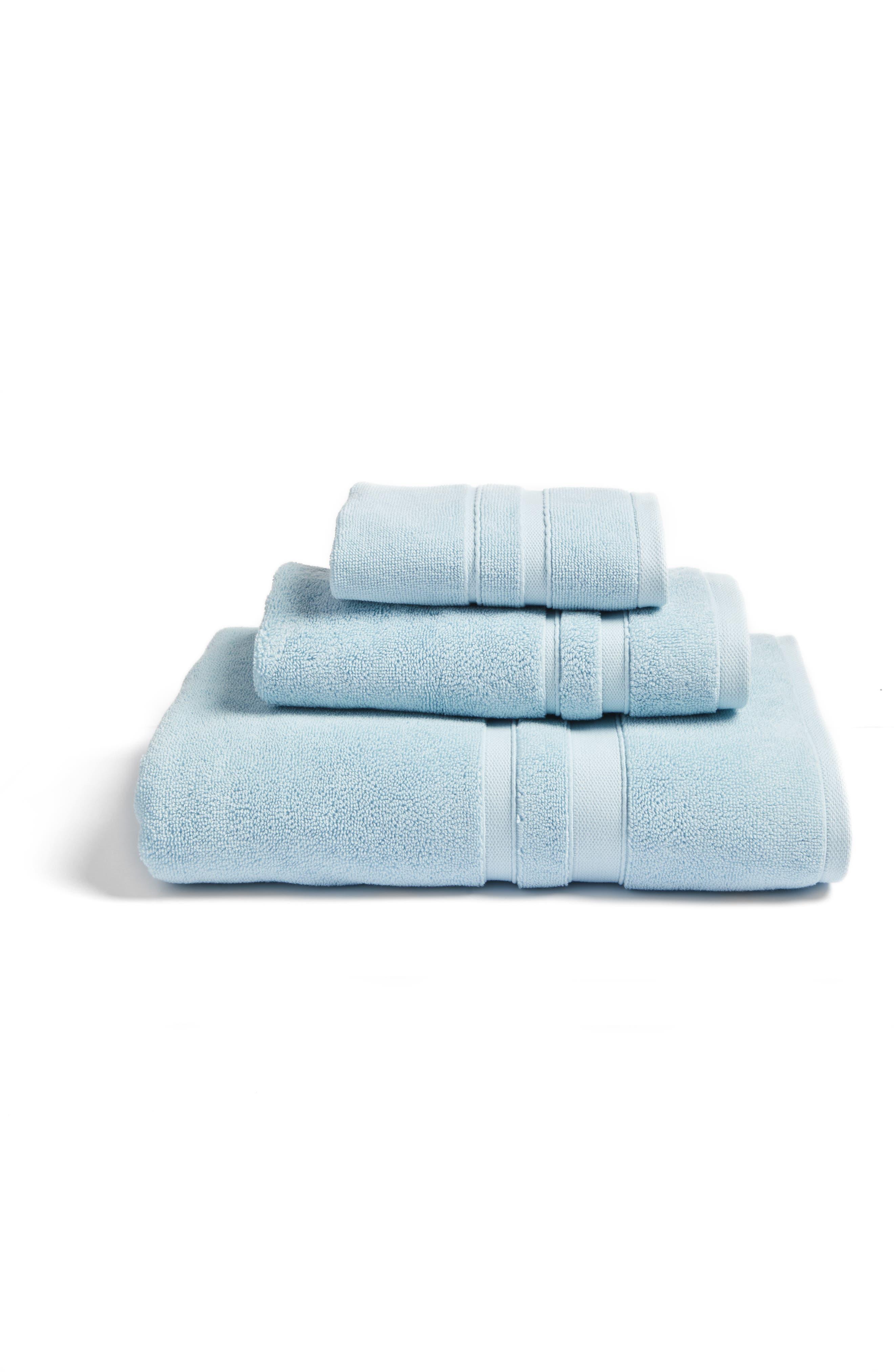 Studio 'Perennial' Combed Turkish Cotton Washcloth,                             Alternate thumbnail 3, color,                             Chrystal Blue