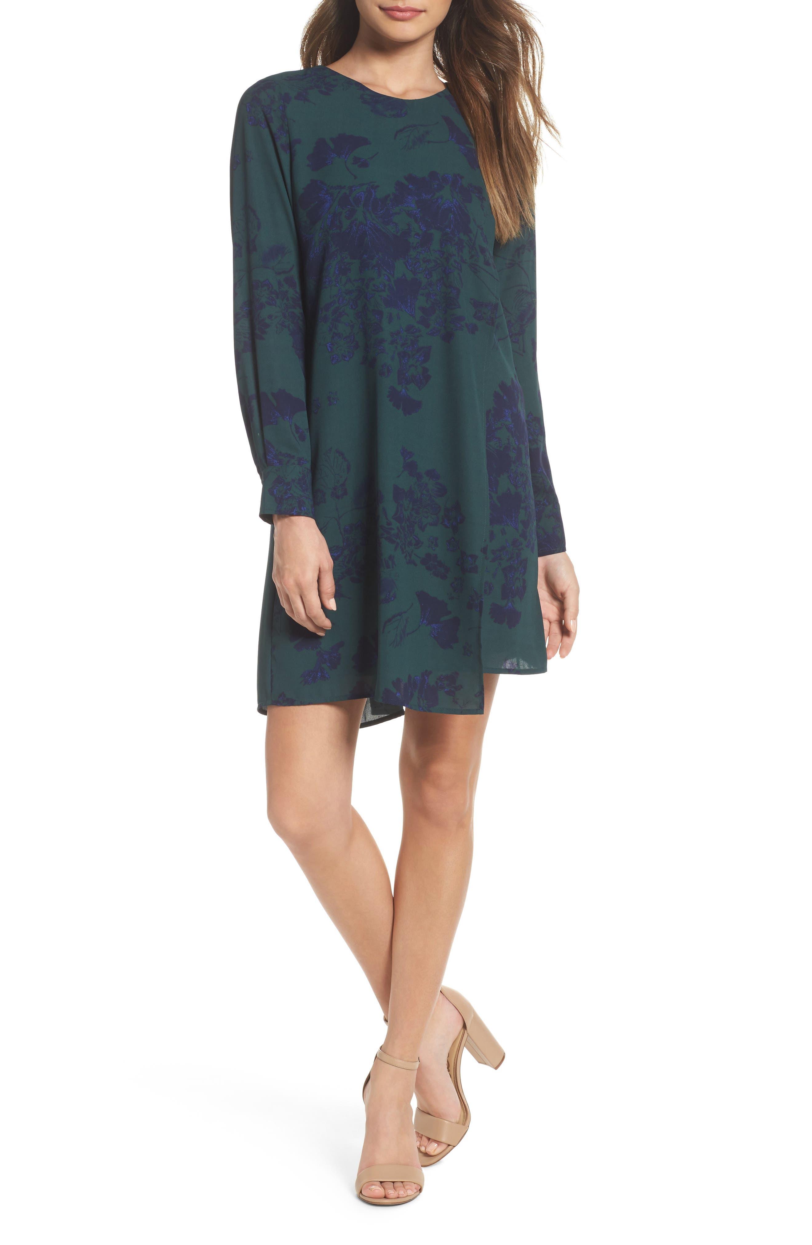 Crossover Shift Dress,                             Main thumbnail 1, color,                             Green Fall Floral