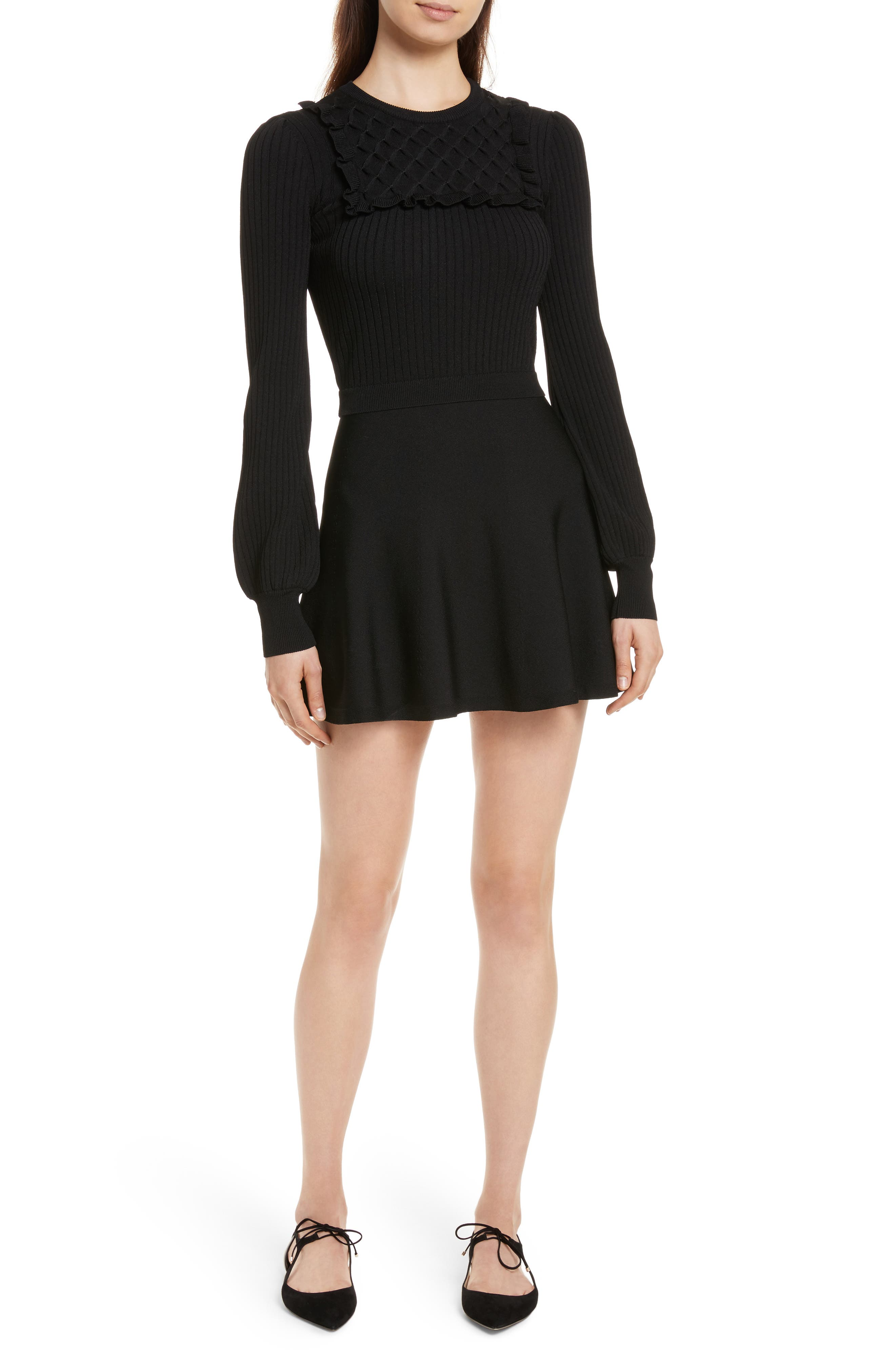 Hand Stitched Stretch Knit Dress,                             Main thumbnail 1, color,                             Nero