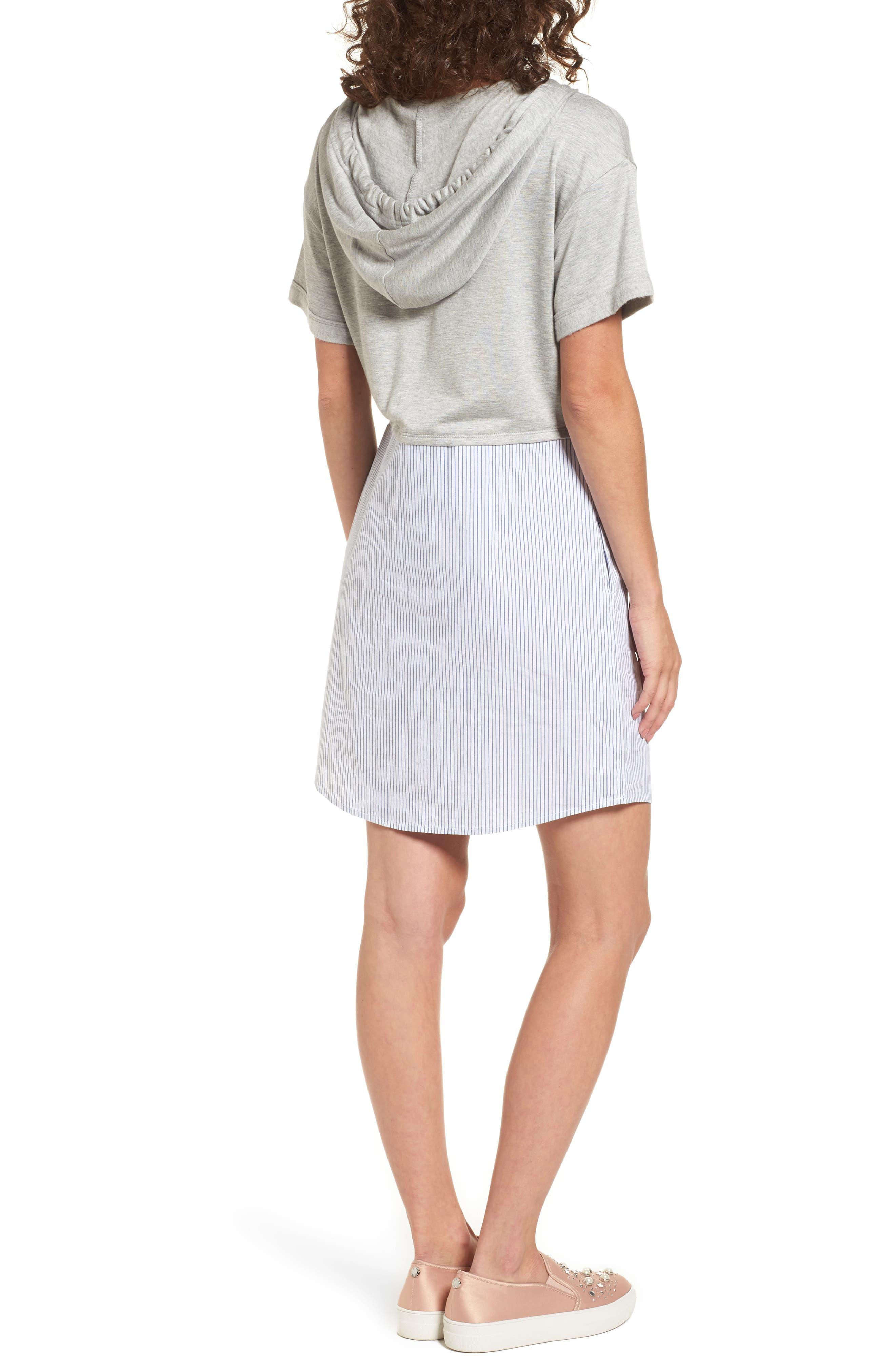 Alternate Image 3  - Socialite Mixed Media Hoodie Dress