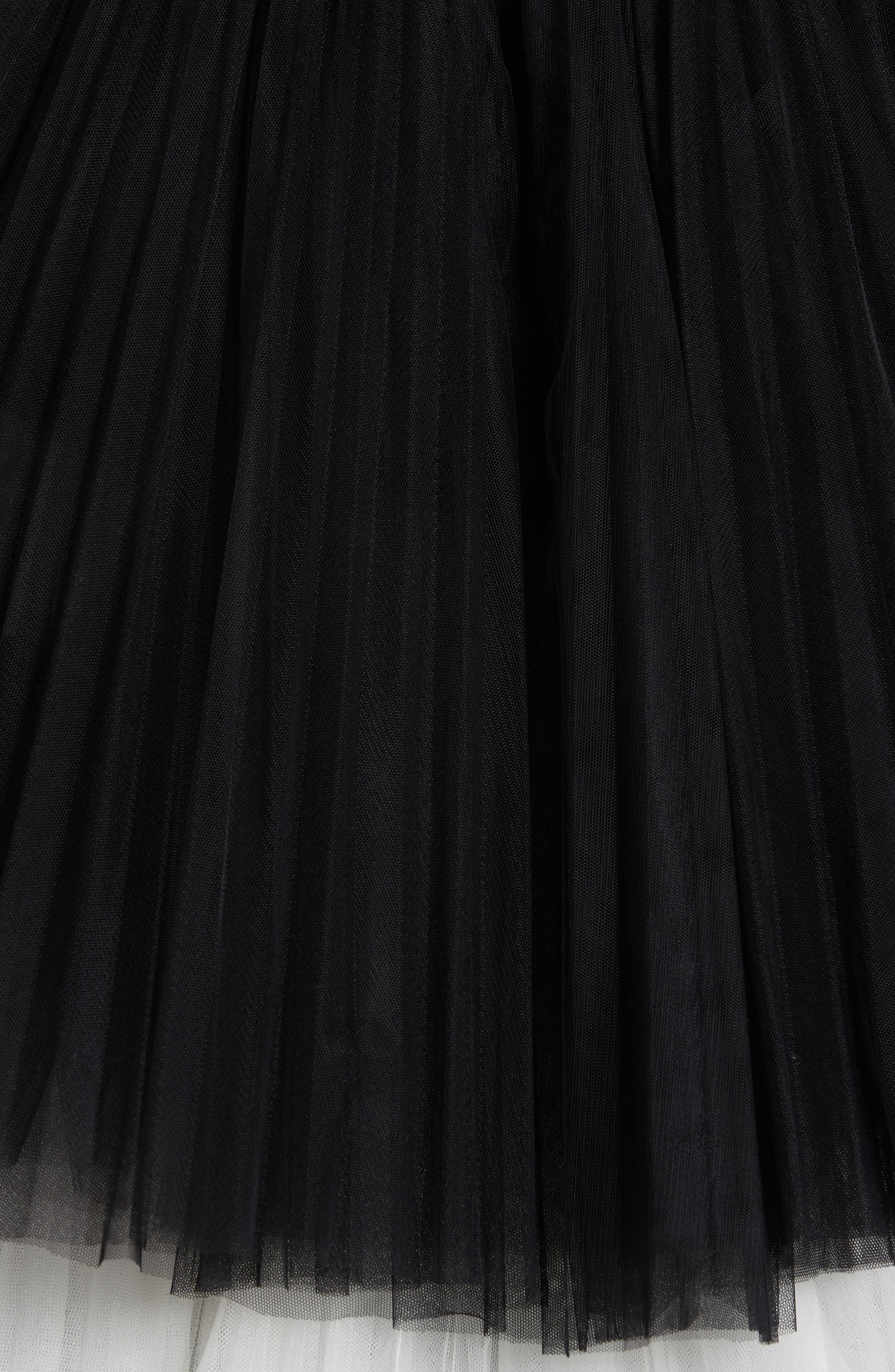 Strapless Layered Tulle Gown,                             Alternate thumbnail 6, color,                             Black/White