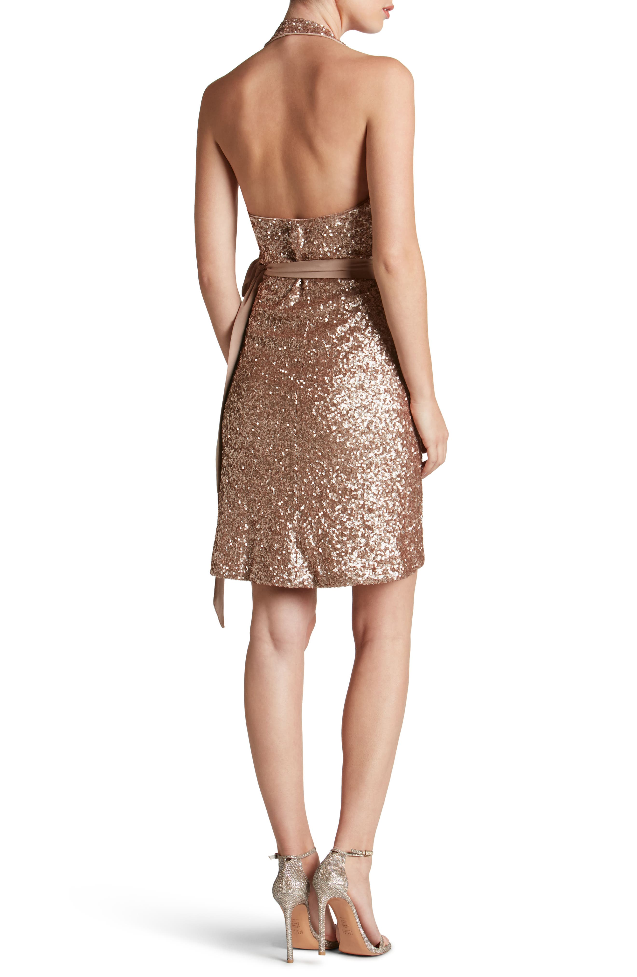Alternate Image 2  - Dress the Population Danielle Sequin Wrap Mini Dress
