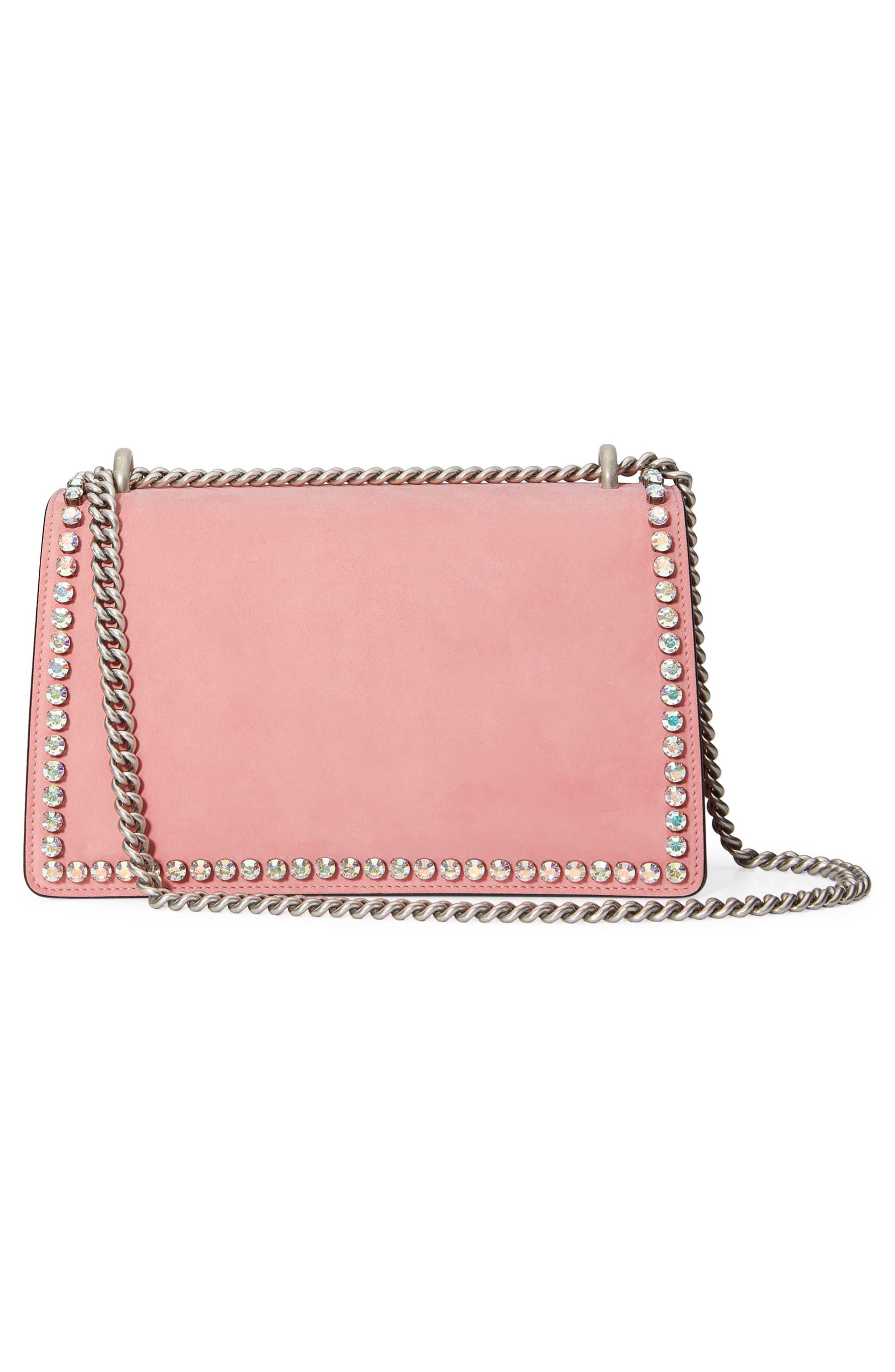 Small Dionysus Crystal Embellished Suede Shoulder Bag,                             Alternate thumbnail 2, color,                             Pink