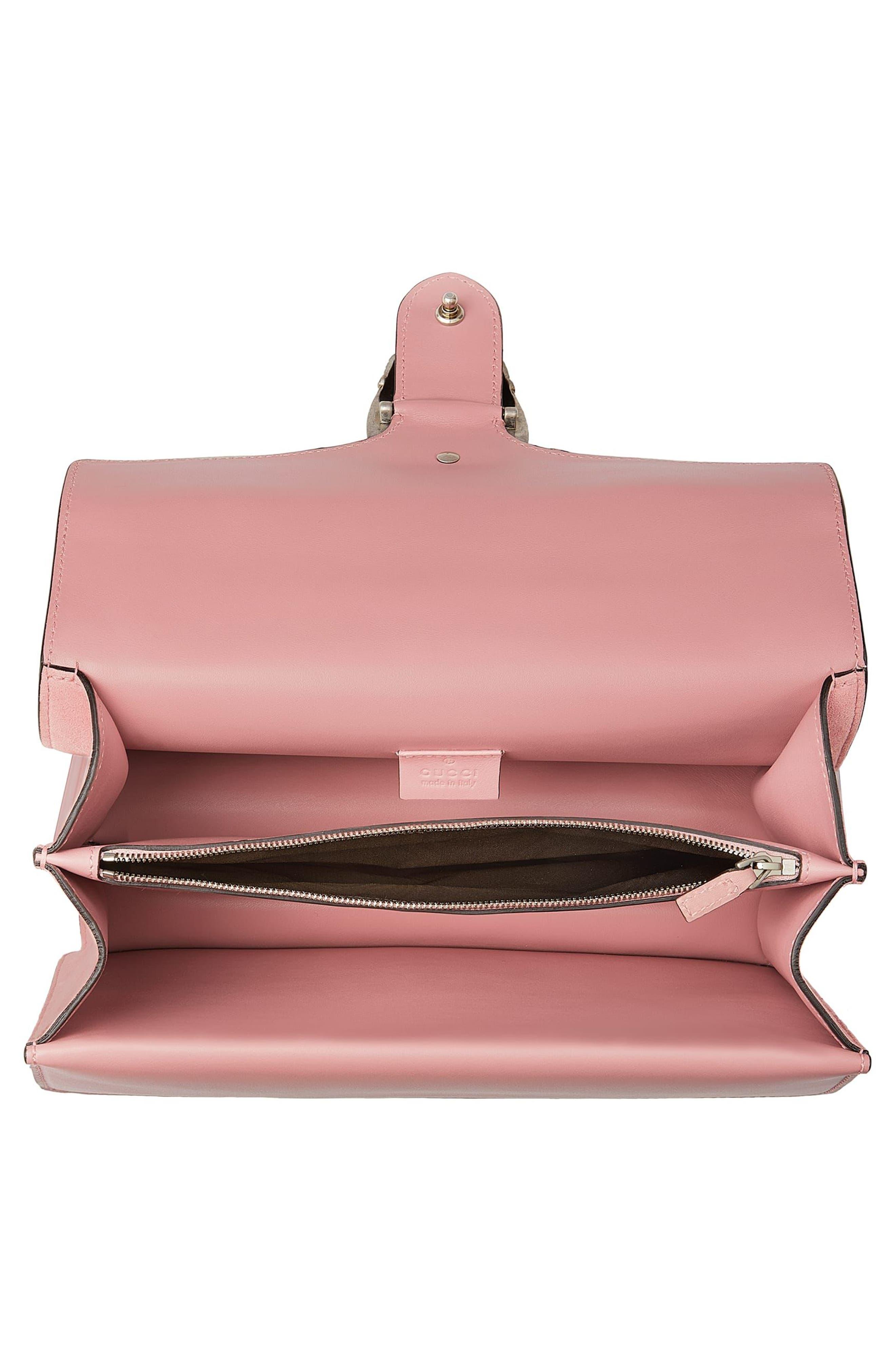 Small Dionysus Crystal Embellished Suede Shoulder Bag,                             Alternate thumbnail 3, color,                             Pink